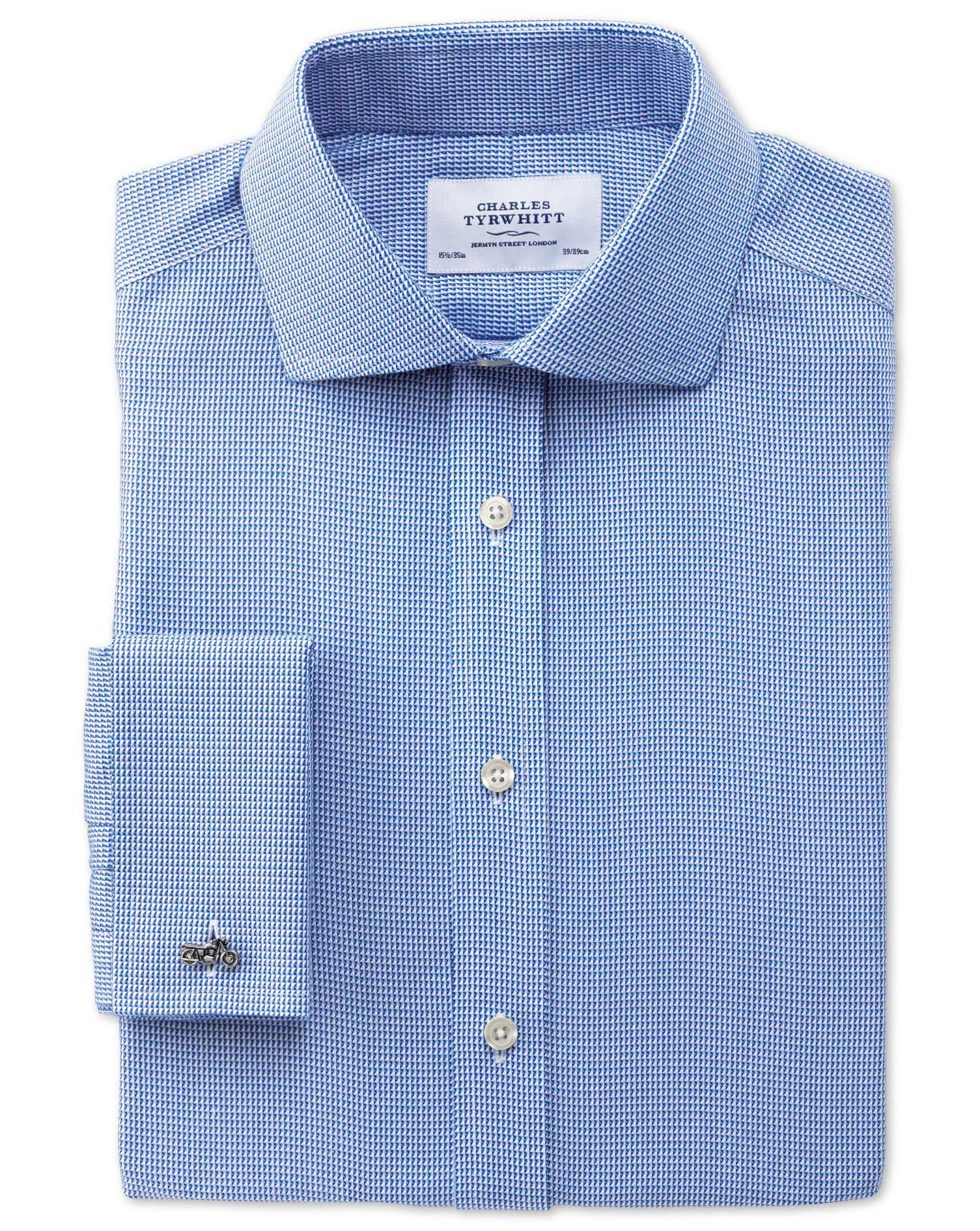 Extra Slim Fit Cutaway Collar Non-Iron Triangle Textured Royal Blue Cotton Formal Shirt Double Cuff
