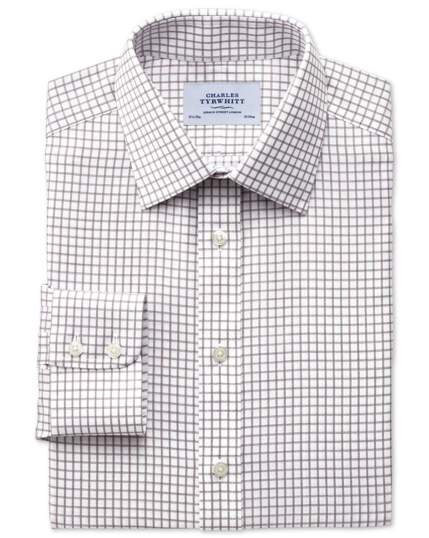 Classic Fit Non-Iron Windowpane Check Brown Cotton Formal Shirt Single Cuff Size 15/35 by Charles Ty