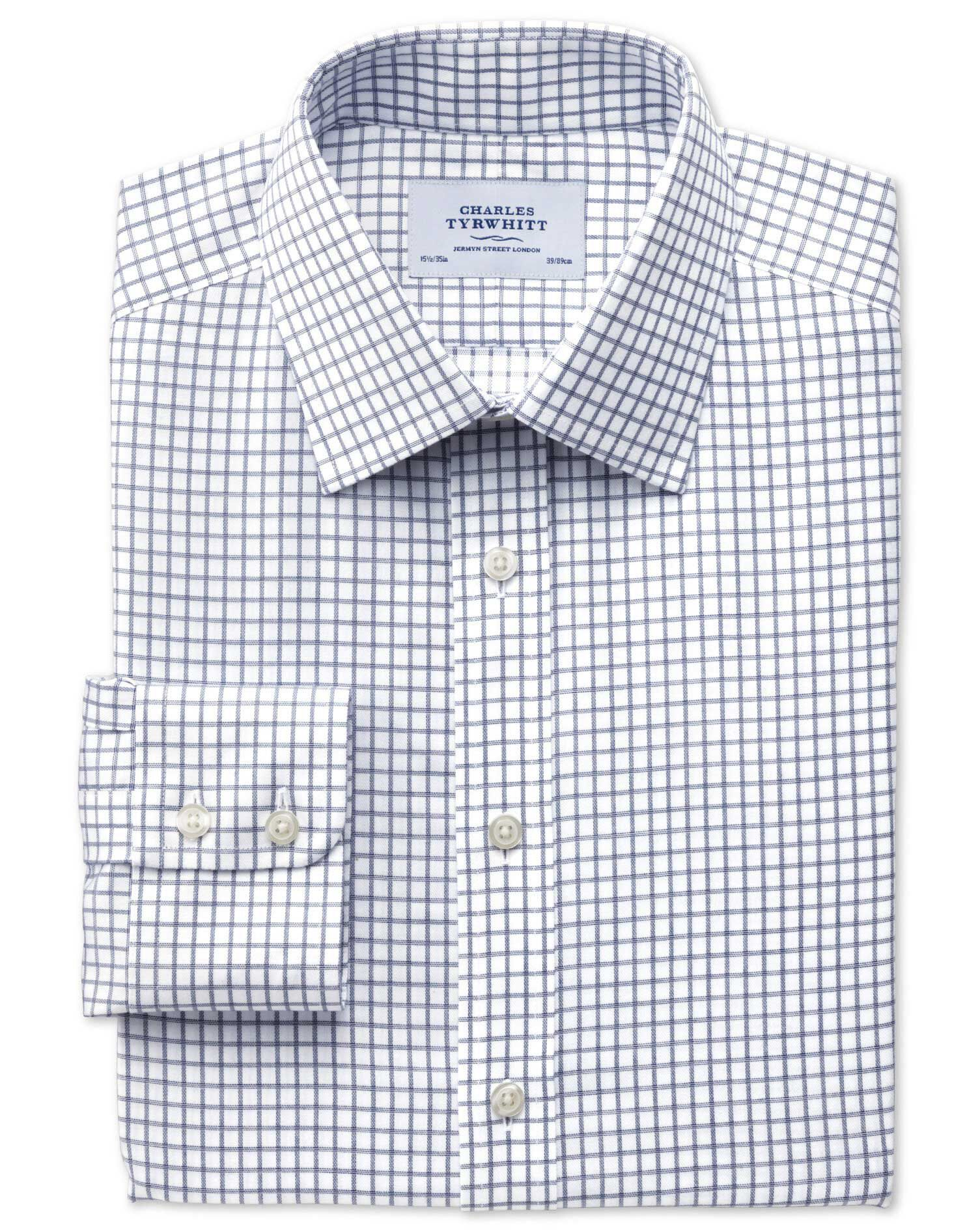 Slim Fit Non-Iron Windowpane Check Indigo Cotton Formal Shirt Single Cuff Size 18/37 by Charles Tyrw