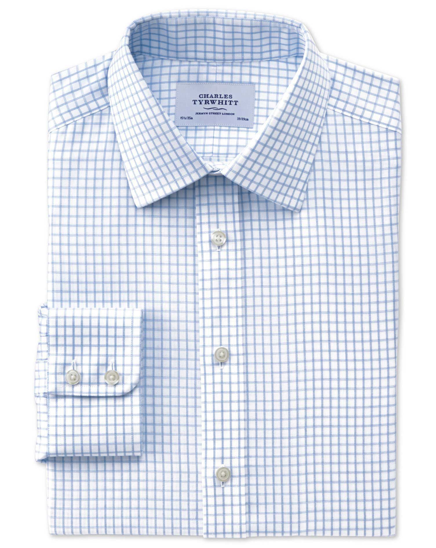 Slim Fit Non-Iron Windowpane Check Blue Cotton Formal Shirt Single Cuff Size 15/32 by Charles Tyrwhi