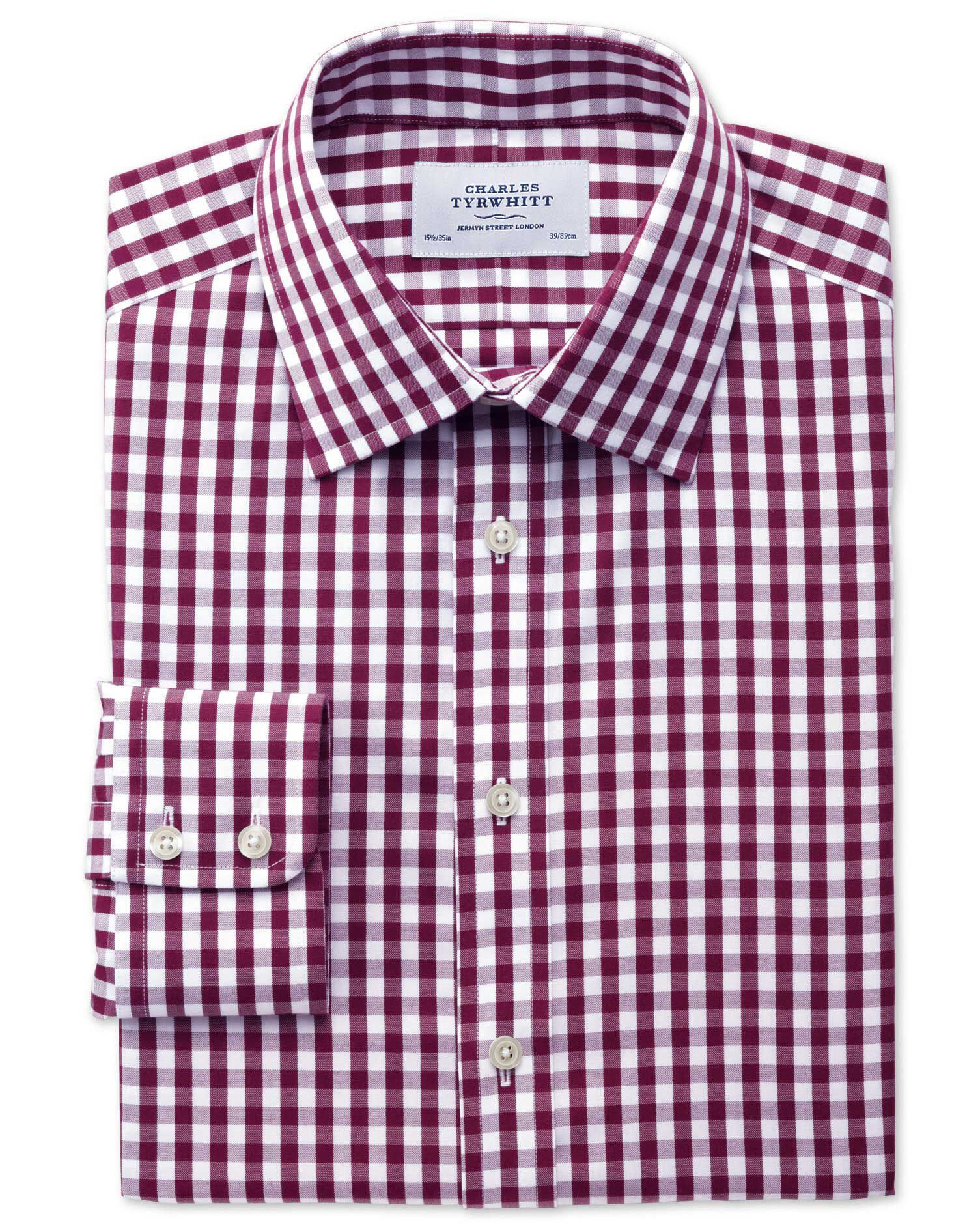 Classic Fit Non-Iron Oxford Gingham Berry Cotton Formal Shirt Single Cuff Size 17/37 by Charles Tyrw