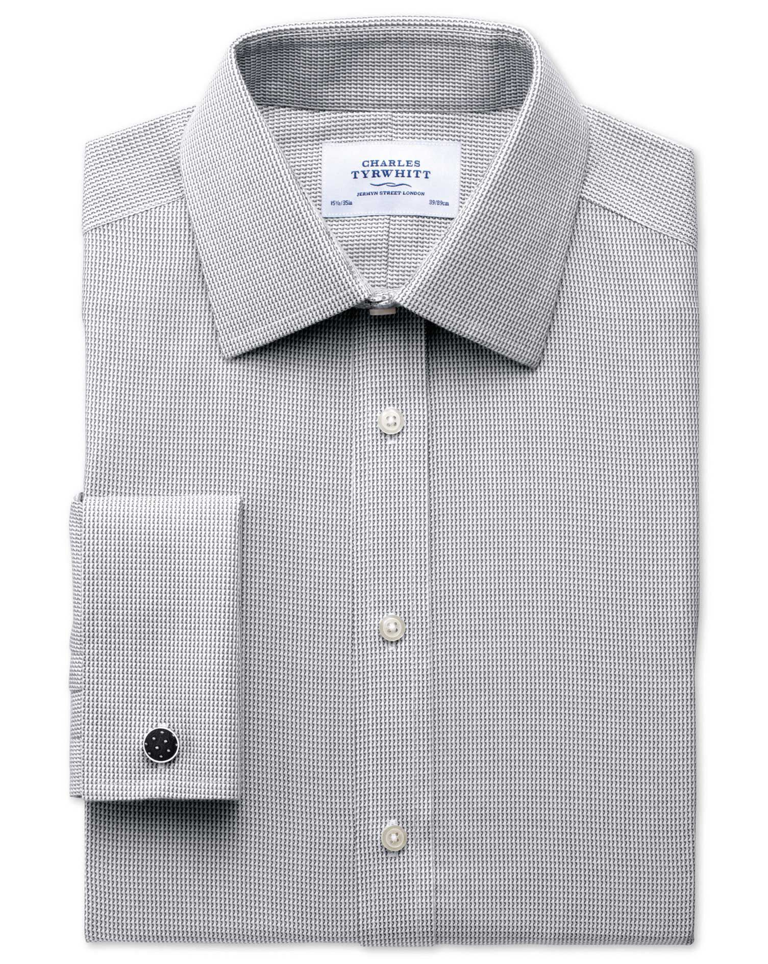 Classic Fit Non-Iron Grey Cotton Formal Shirt Double Cuff Size 15.5/37 by Charles Tyrwhitt