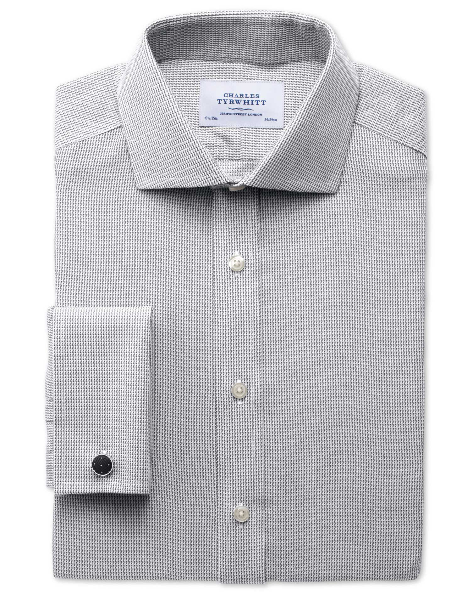 Extra Slim Fit Cutaway Collar Non-Iron Grey Cotton Formal Shirt Double Cuff Size 16/38 by Charles Ty