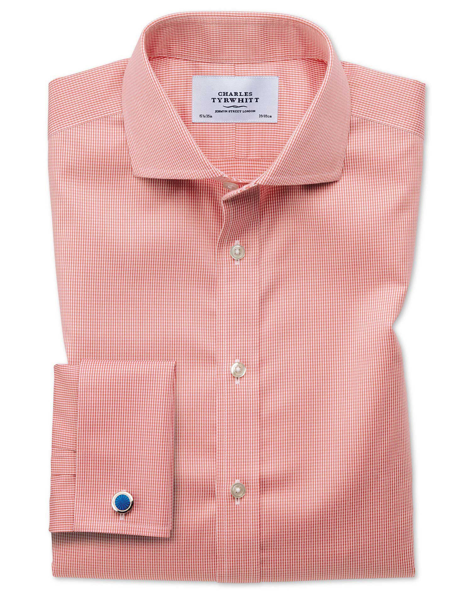 Slim Fit Cutaway Non-Iron Puppytooth Coral Cotton Formal Shirt Double Cuff Size 17.5/34 by Charles T