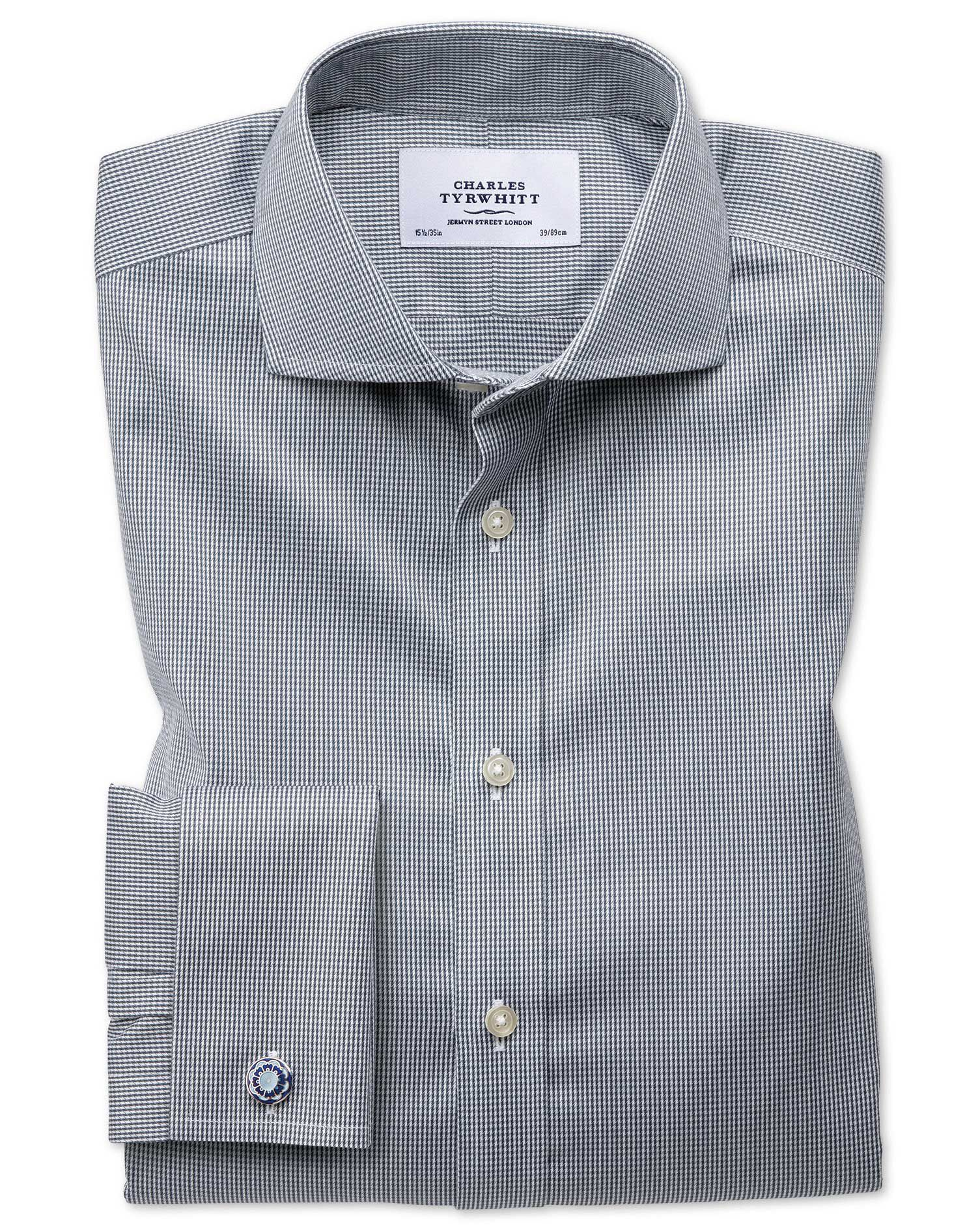 Slim Fit Cutaway Non-Iron Puppytooth Dark Grey Cotton Formal Shirt Double Cuff Size 15.5/35 by Charl