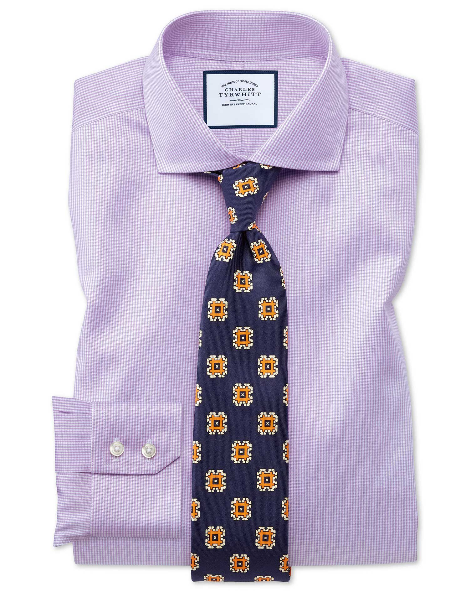 Slim Fit Cutaway Collar Non-Iron Puppytooth Lilac Cotton Formal Shirt Double Cuff Size 17.5/36 by Ch