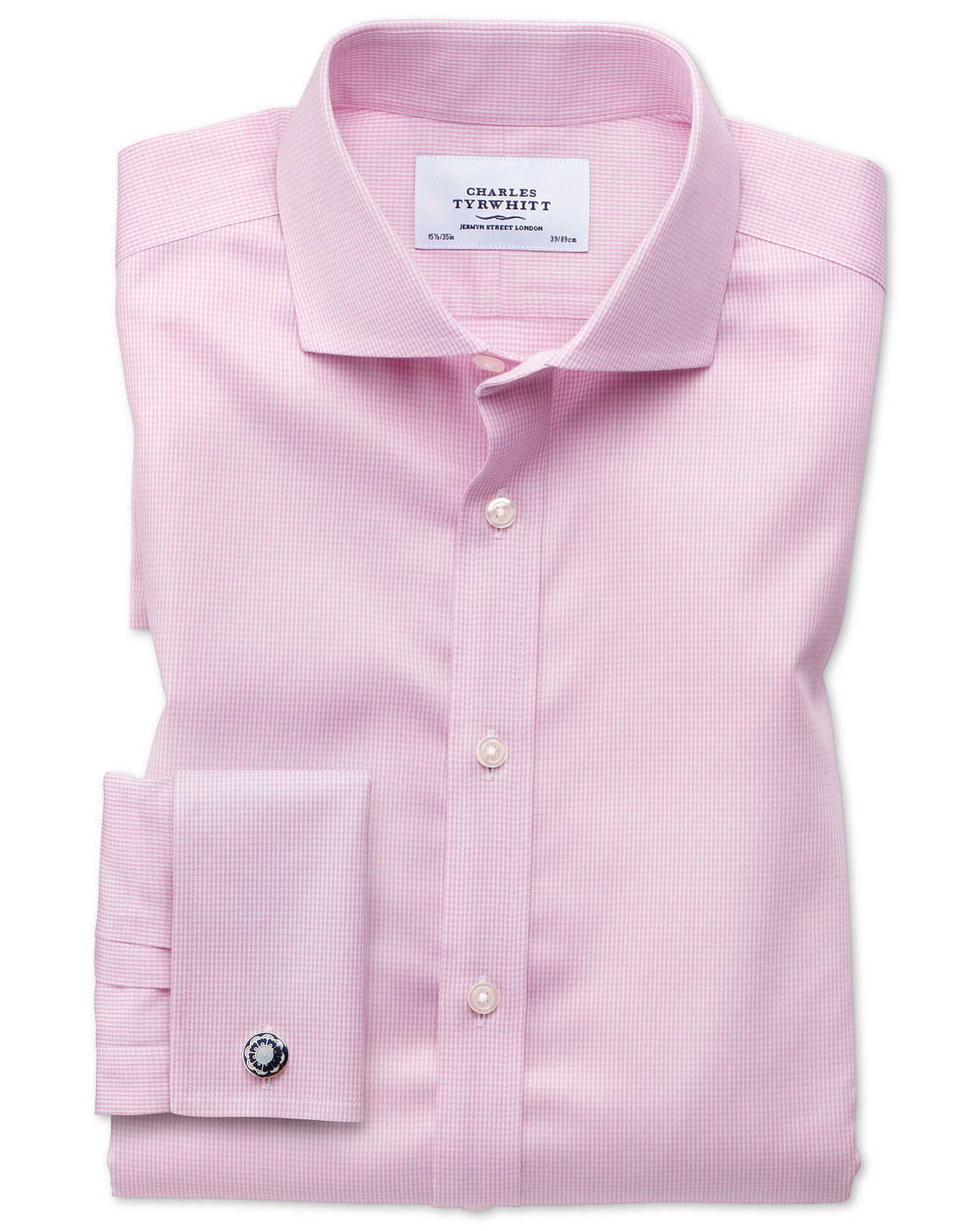 Slim Fit Cutaway Non-Iron Puppytooth Light Pink Cotton Formal Shirt Single Cuff Size 17/34 by Charle