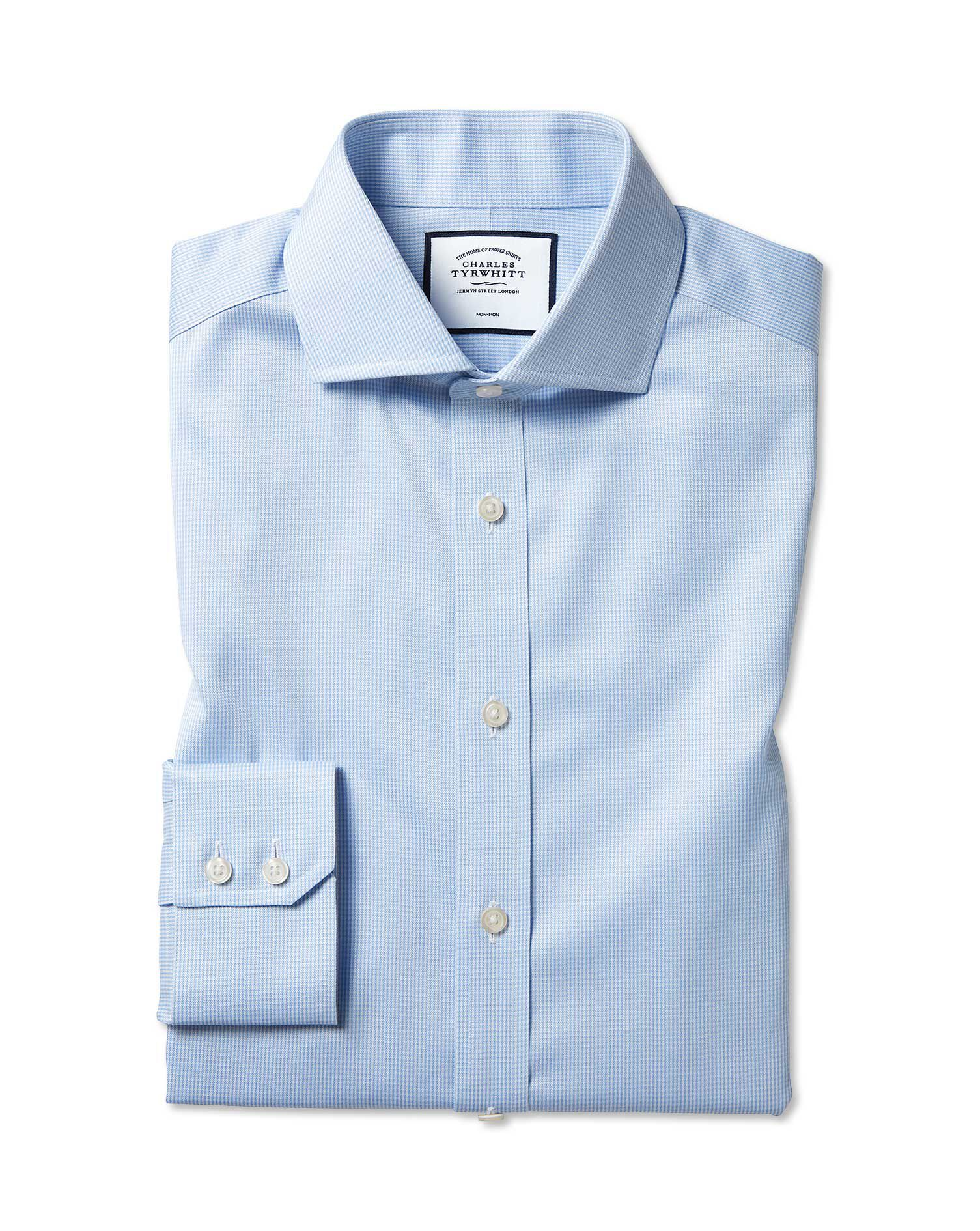Slim Fit Cutaway Non-Iron Puppytooth Sky Blue Cotton Formal Shirt Single Cuff Size 16.5/35 by Charle