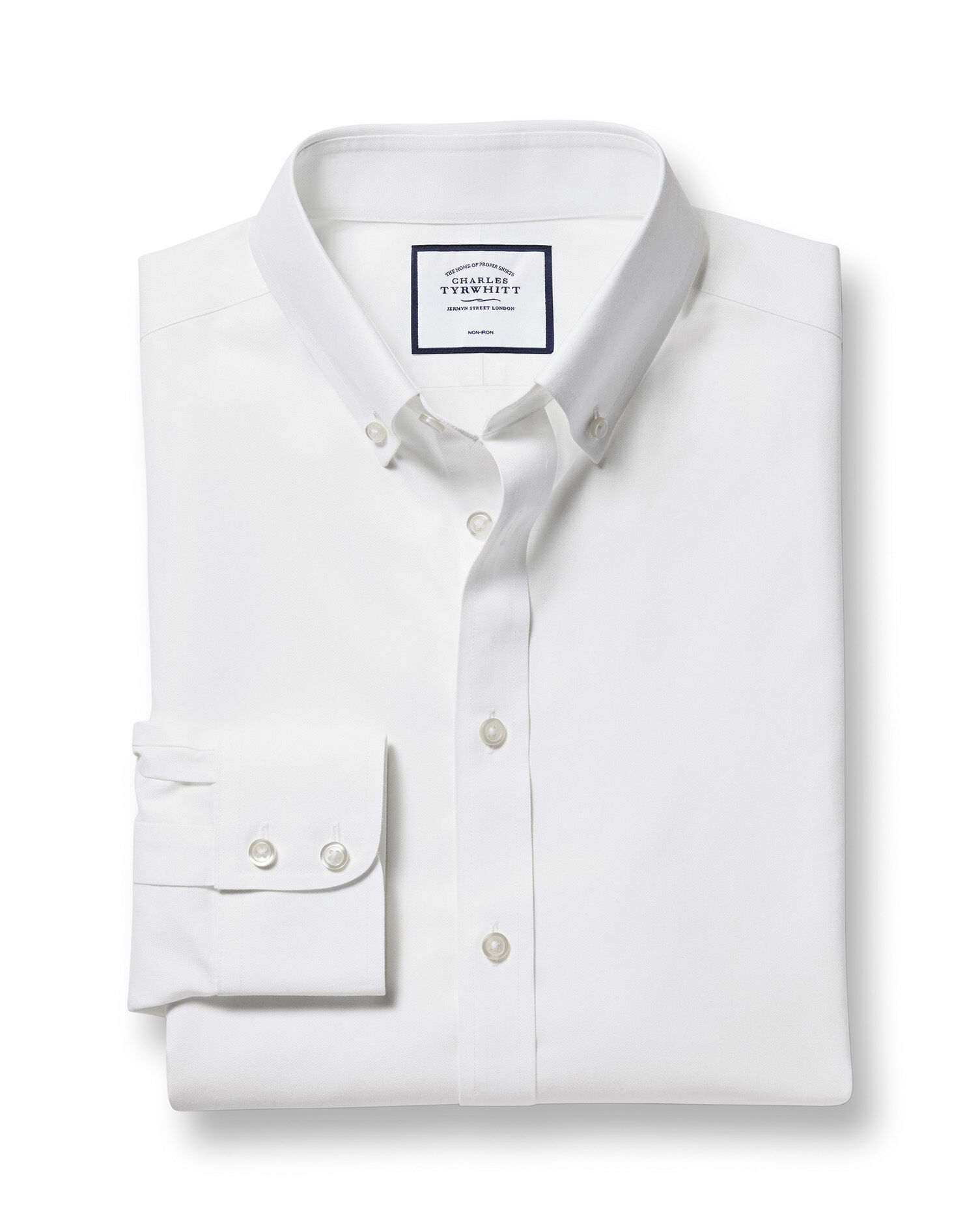 Slim Fit Button-Down Non-Iron Twill White Cotton Formal Shirt Single Cuff Size 17/36 by Charles Tyrw
