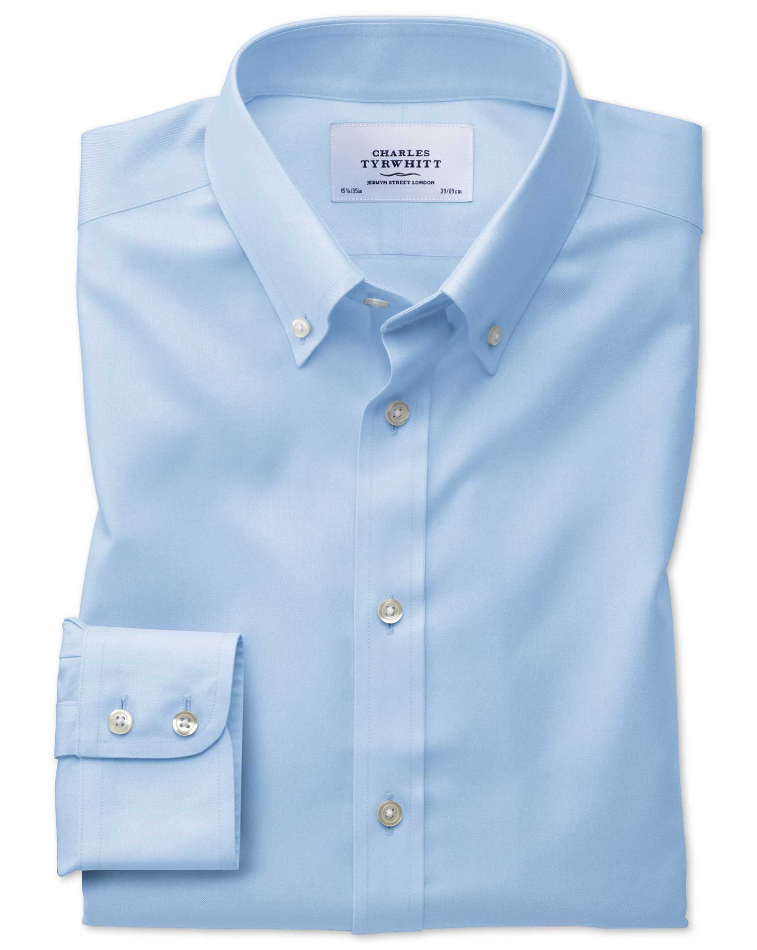 Extra Slim Fit Button-Down Non-Iron Twill Sky Blue Cotton Formal Shirt Single Cuff Size 15.5/35 by C