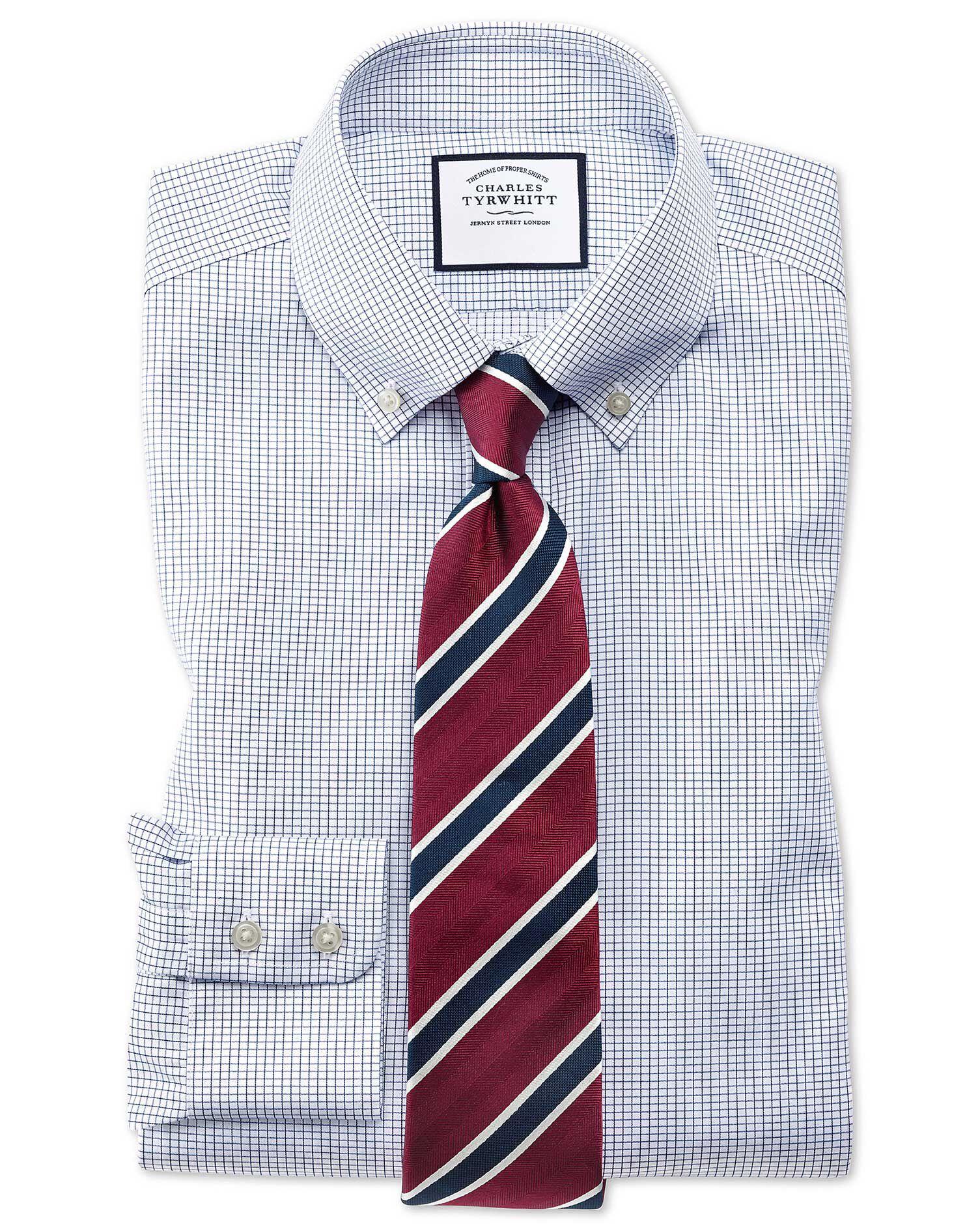 Extra Slim Fit Button-Down Non-Iron Twill Mini Grid Check Navy Blue Cotton Formal Shirt Single Cuff