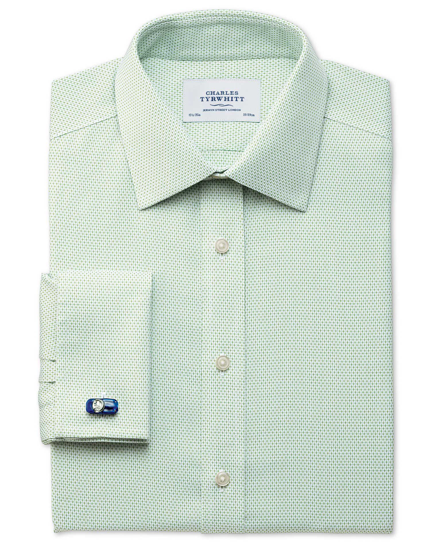 Slim Fit Non-Iron Imperial Weave Light Green Cotton Formal Shirt Double Cuff Size 17/37 by Charles T