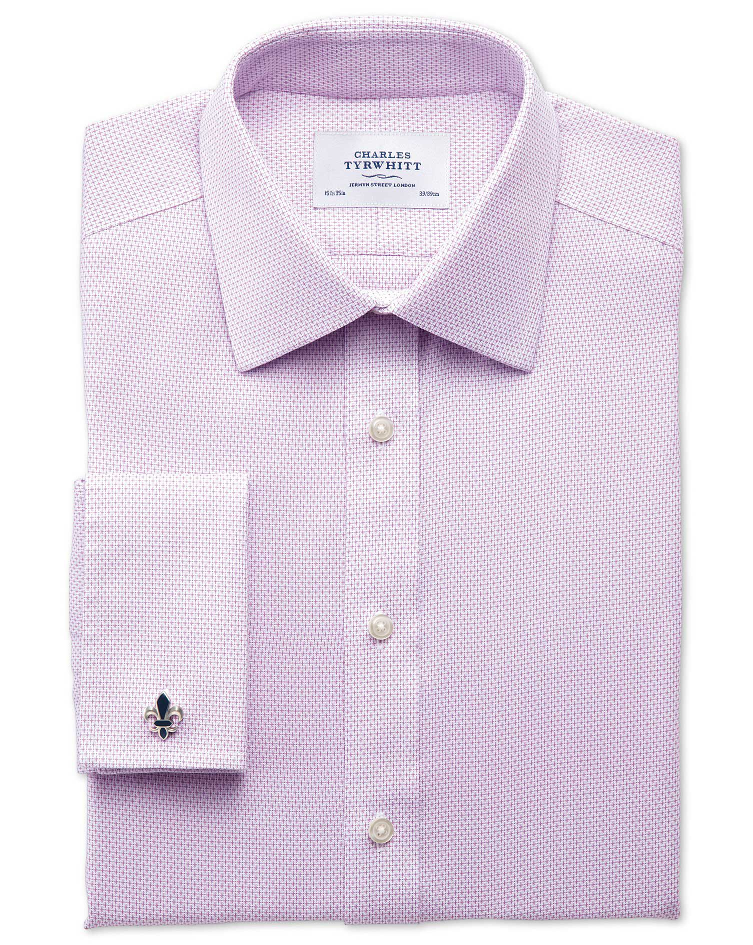 Slim Fit Non-Iron Imperial Weave Lilac Cotton Formal Shirt Single Cuff Size 15/34 by Charles Tyrwhit