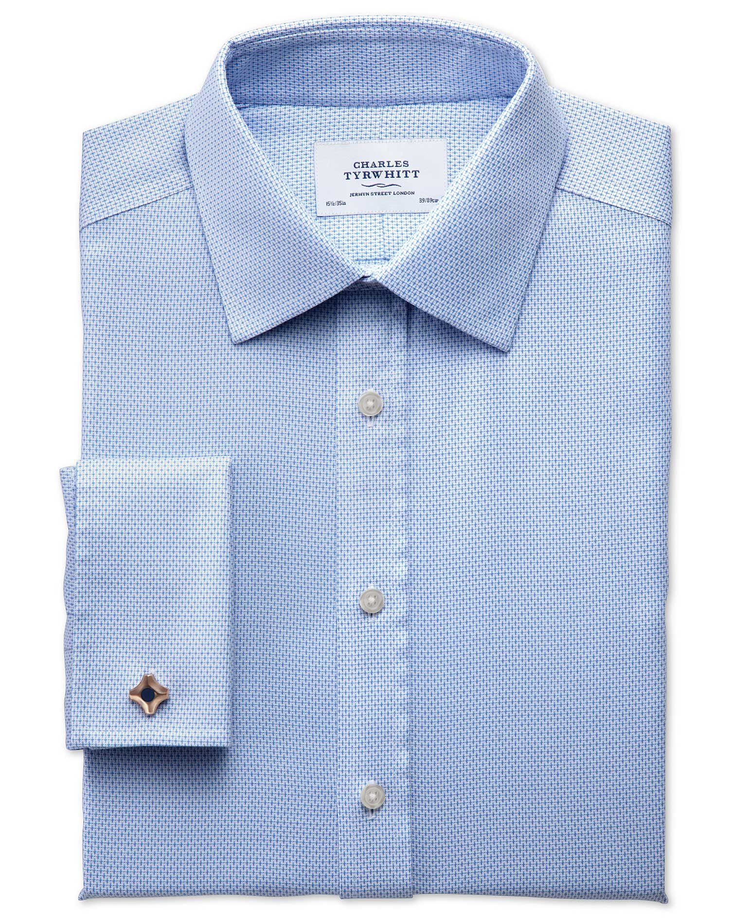 Slim Fit Non-Iron Imperial Weave Sky Blue Cotton Formal Shirt Double Cuff Size 16/35 by Charles Tyrw
