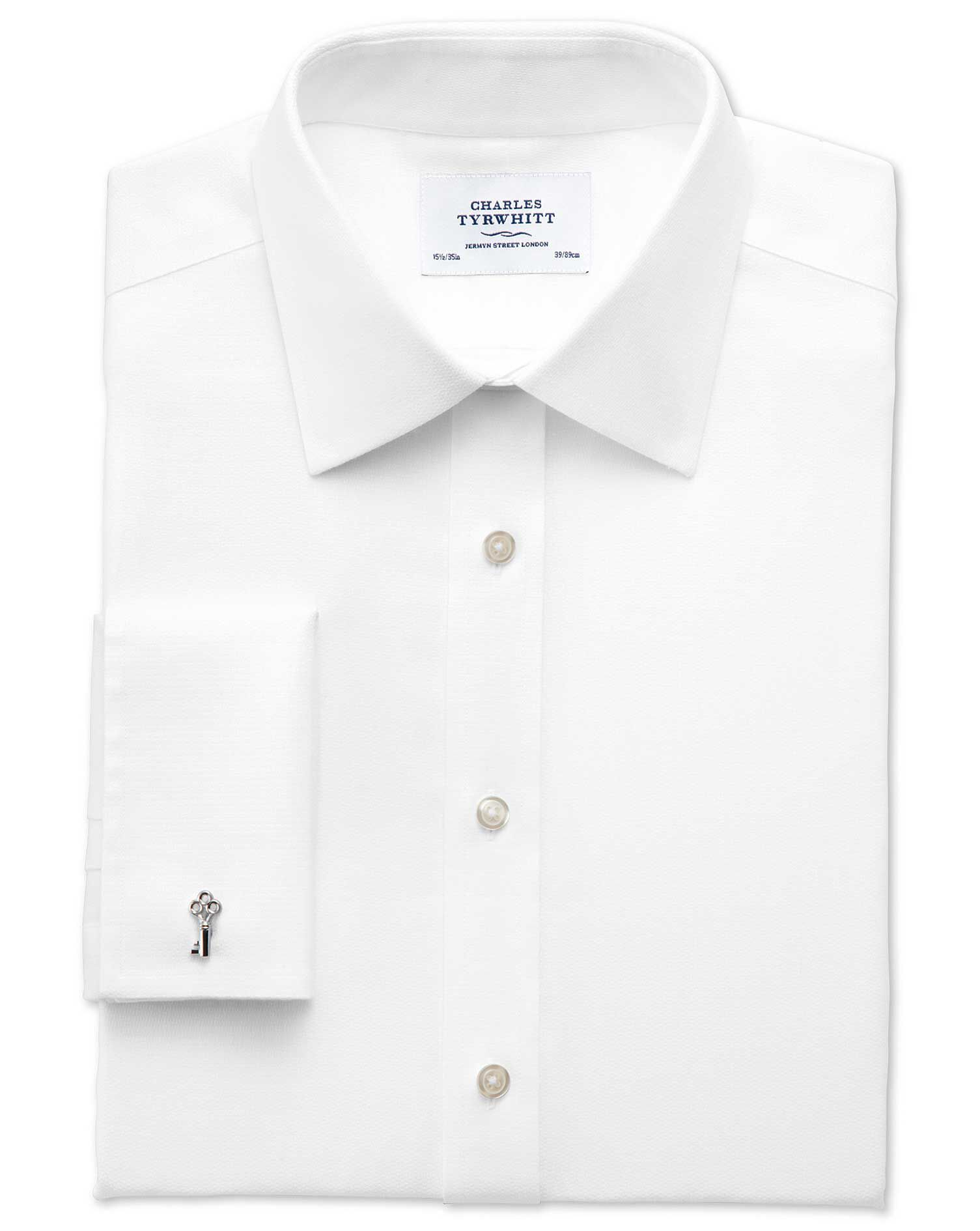 Slim Fit Non-Iron Imperial Weave White Cotton Formal Shirt Single Cuff Size 16.5/34 by Charles Tyrwh