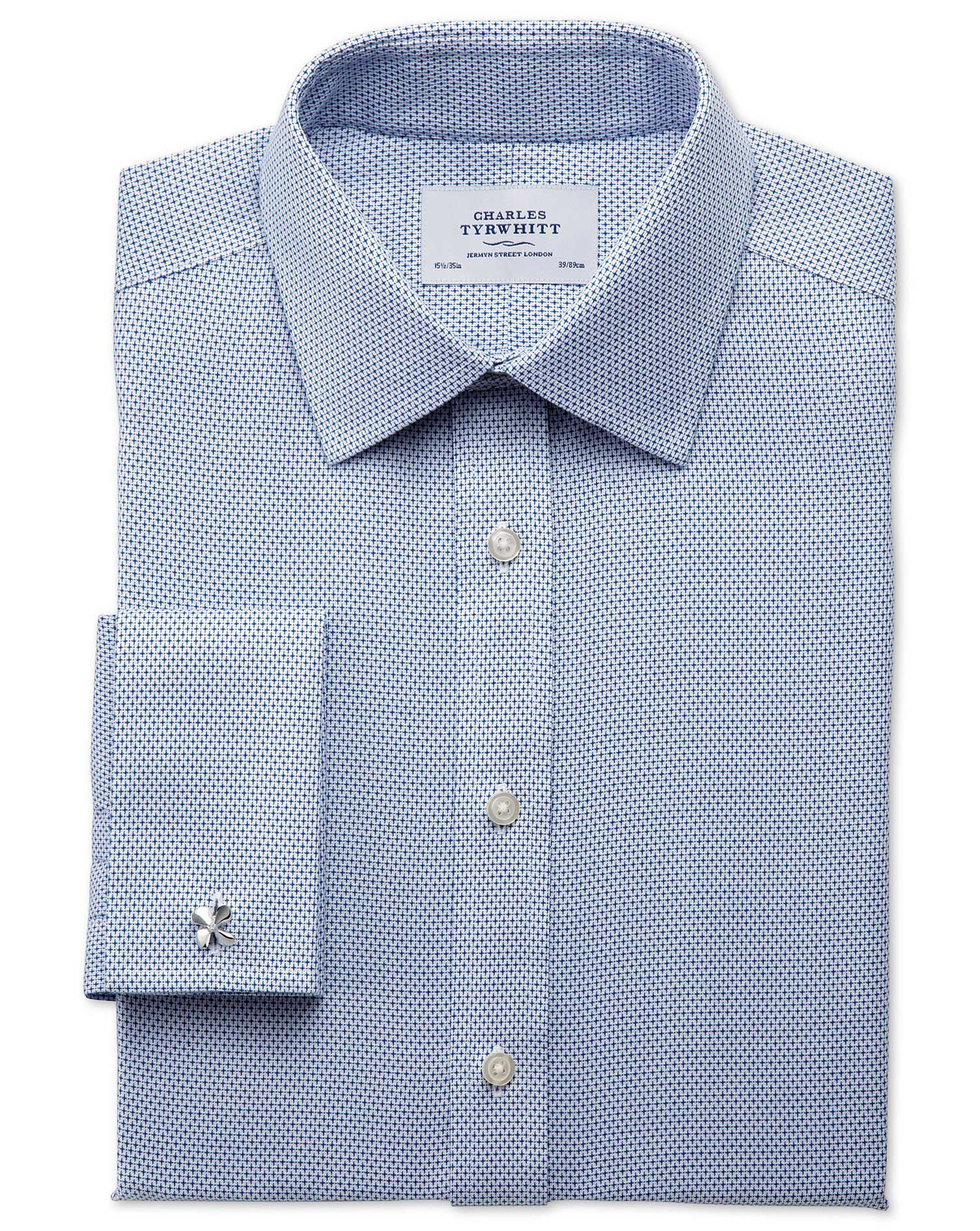 Extra Slim Fit Non-Iron Imperial Weave Blue Cotton Formal Shirt Double Cuff Size 16/33 by Charles Ty