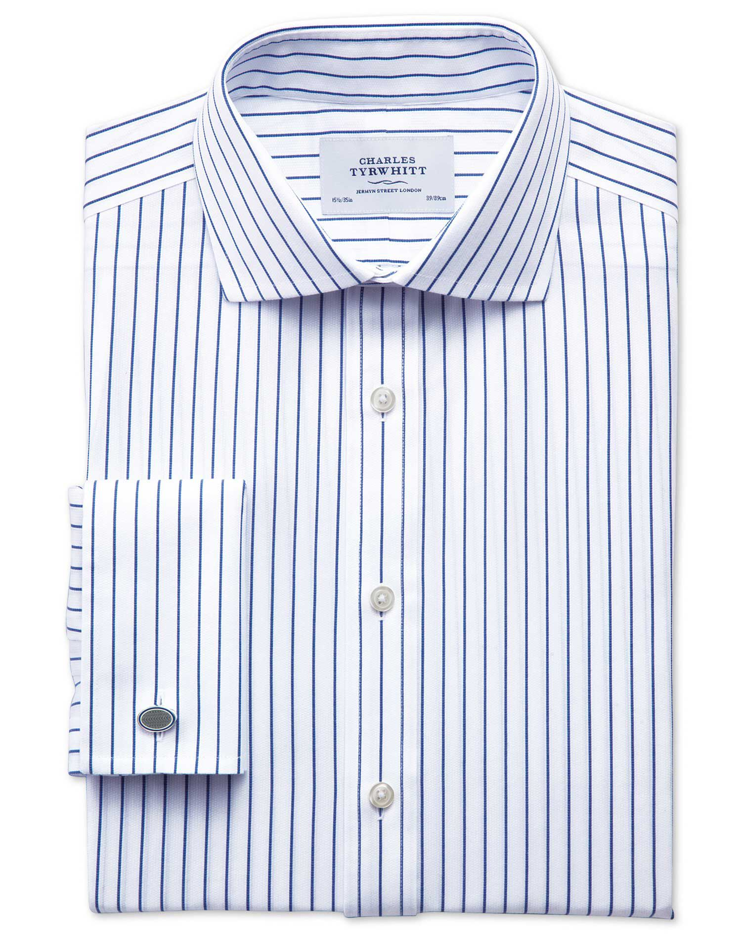 Slim Fit Cutaway Collar Non-Iron Stripe White and Navy Cotton Formal Shirt Double Cuff Size 16/33 by
