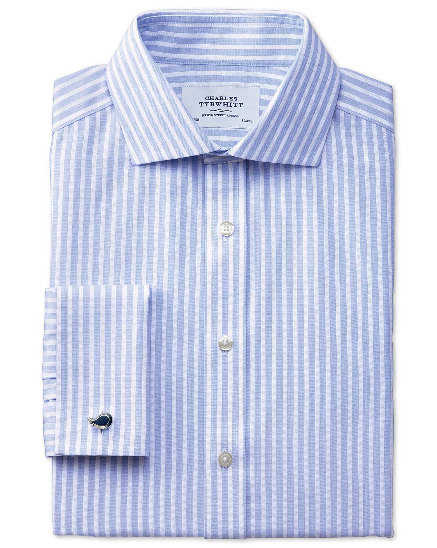 Extra Slim Fit Cutaway Collar Non-Iron Stripe White and Sky Blue Cotton Formal Shirt Double Cuff Siz