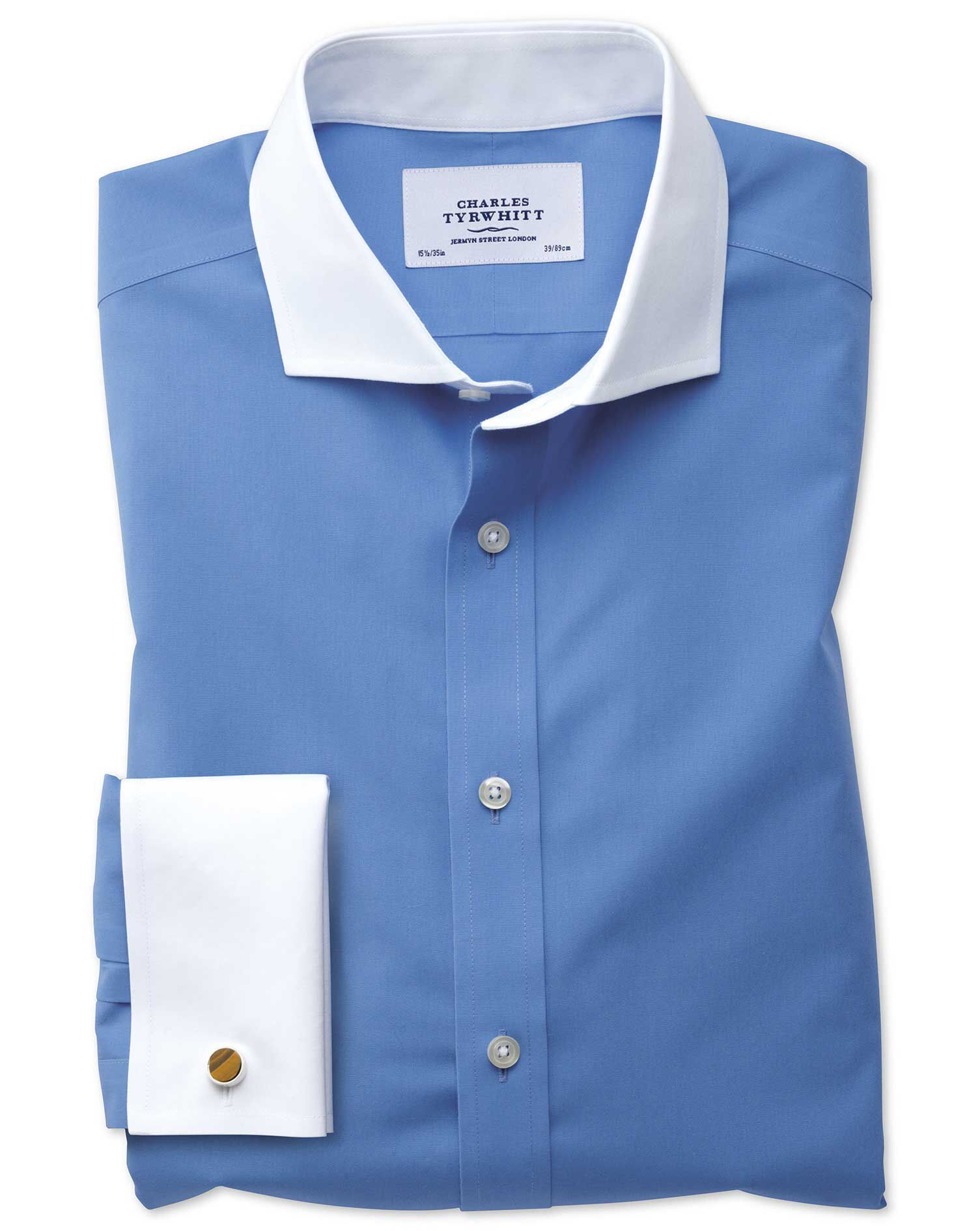 Extra Slim Fit Cutaway Non-Iron Winchester Blue Cotton Formal Shirt Single Cuff Size 15.5/37 by Char
