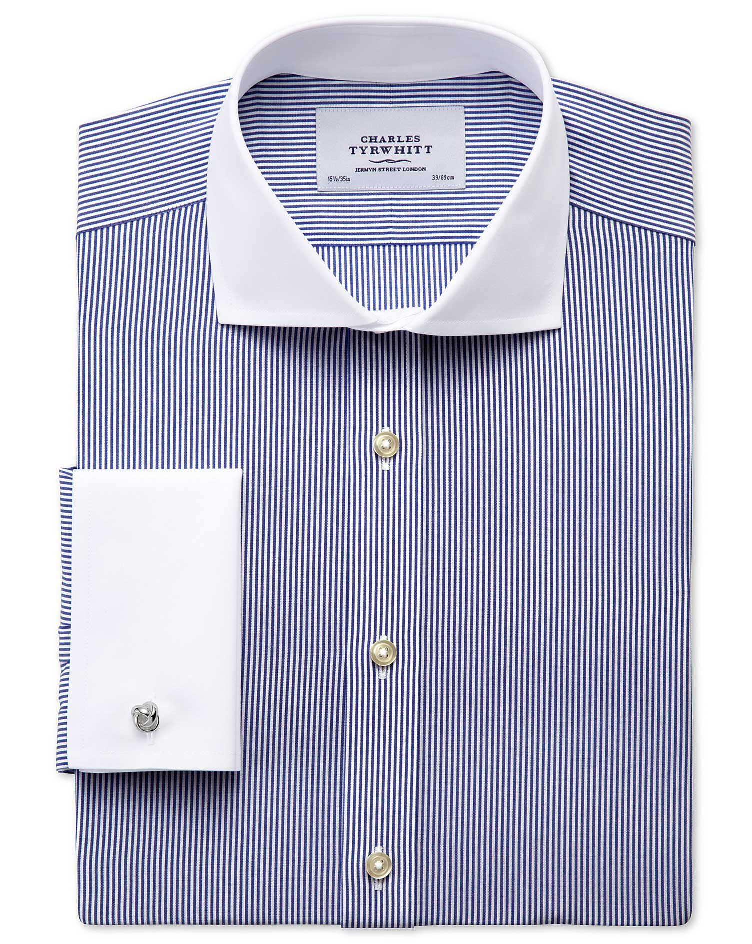 Extra Slim Fit Cutaway Collar Non-Iron Winchester Bengal Stripe Navy Cotton Formal Shirt Double Cuff