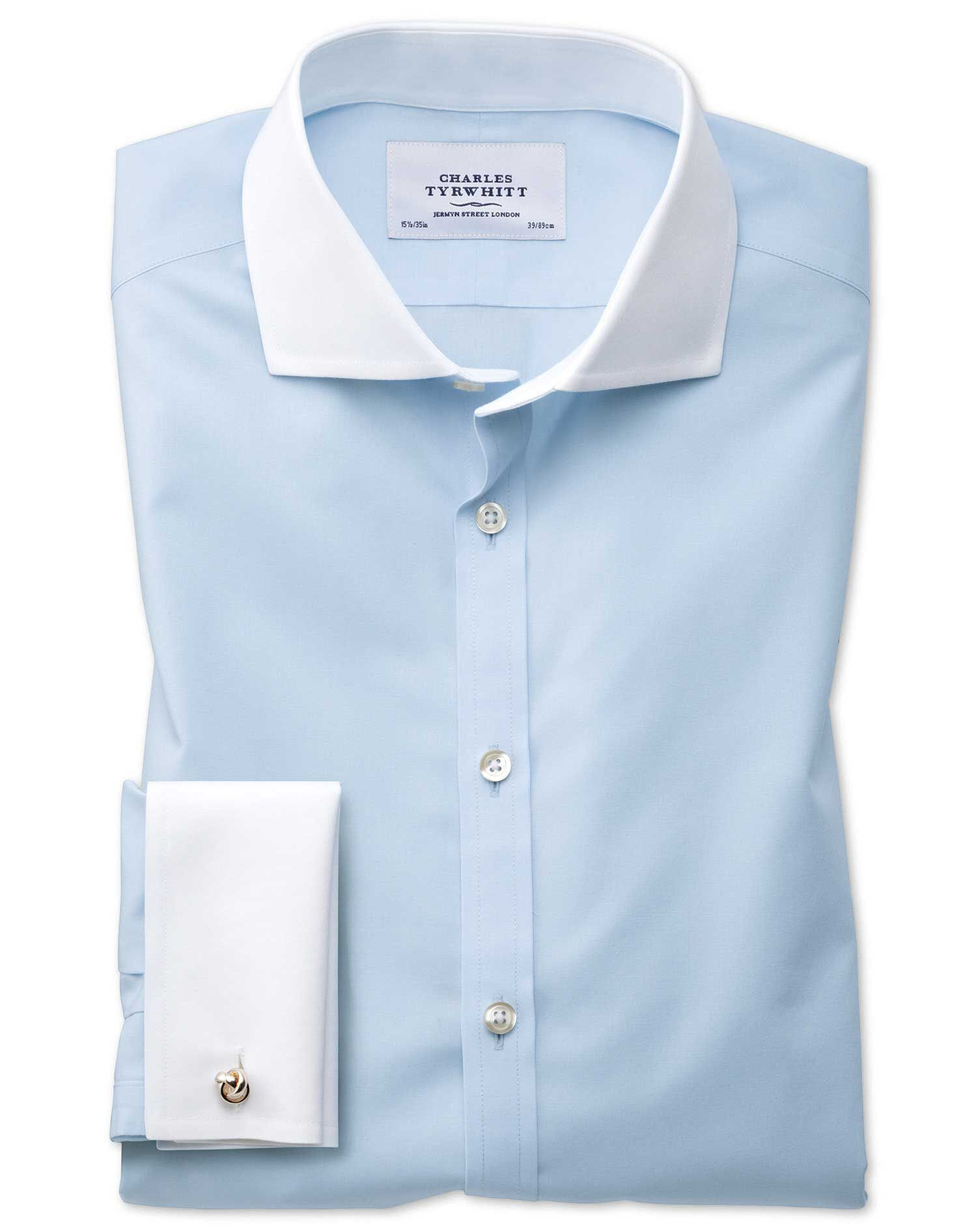 Extra Slim Fit Cutaway Non-Iron Winchester Sky Blue Cotton Formal Shirt Double Cuff Size 17/37 by Ch
