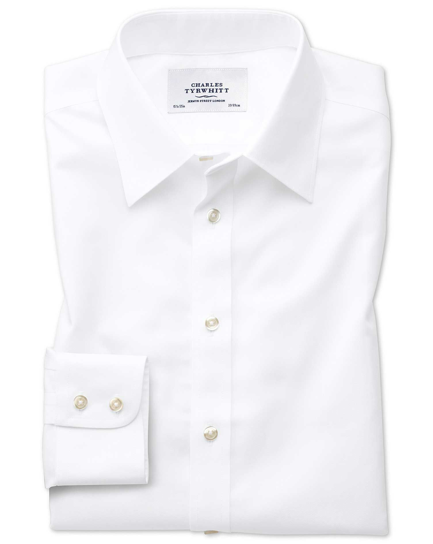 Slim Fit Forward Point Collar Non-Iron Twill White Cotton Formal Shirt Single Cuff Size 16.5/34 by C