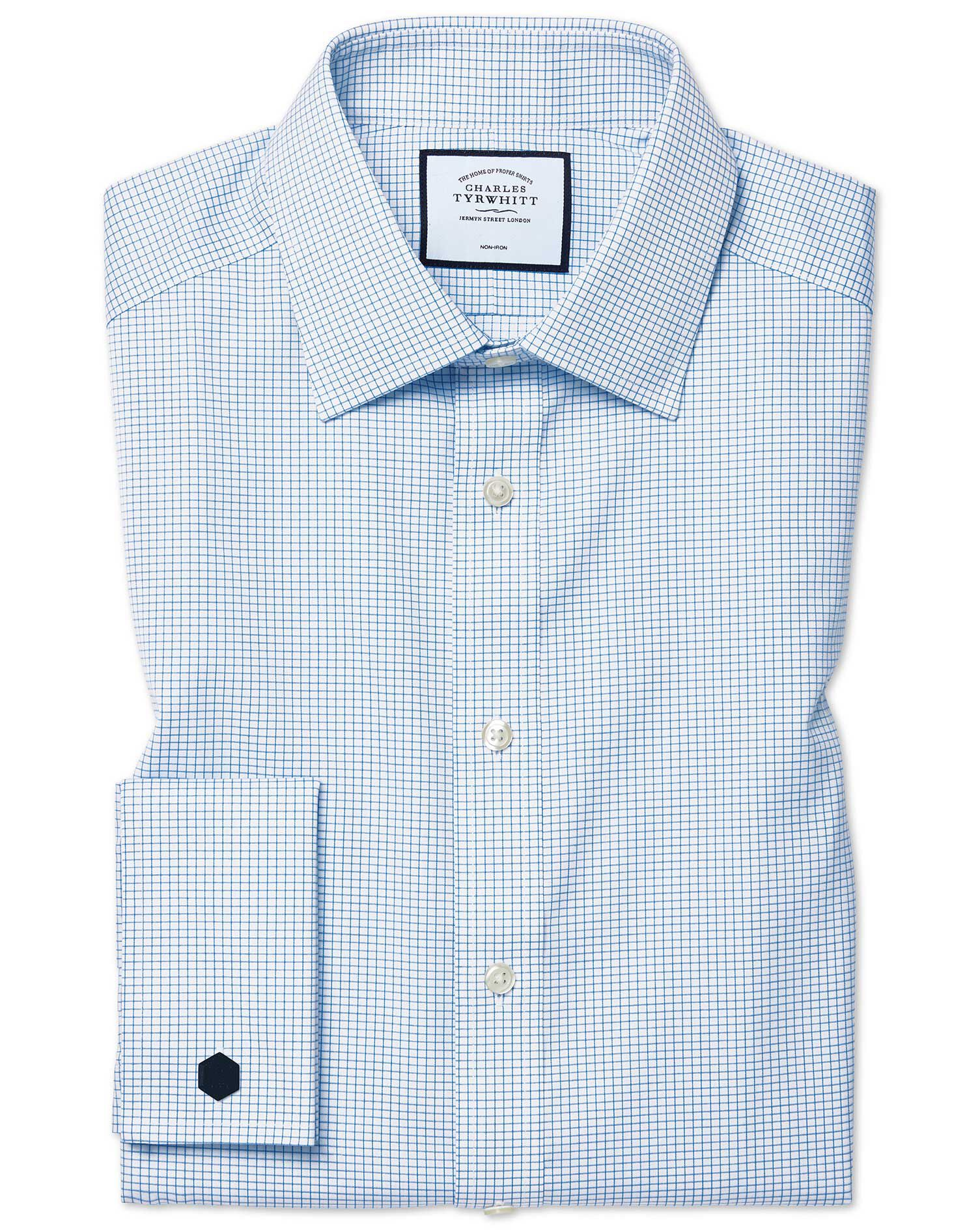 Slim Fit Non-Iron Twill Mini Grid Check Sky Blue Cotton Formal Shirt Double Cuff Size 16.5/33 by Cha
