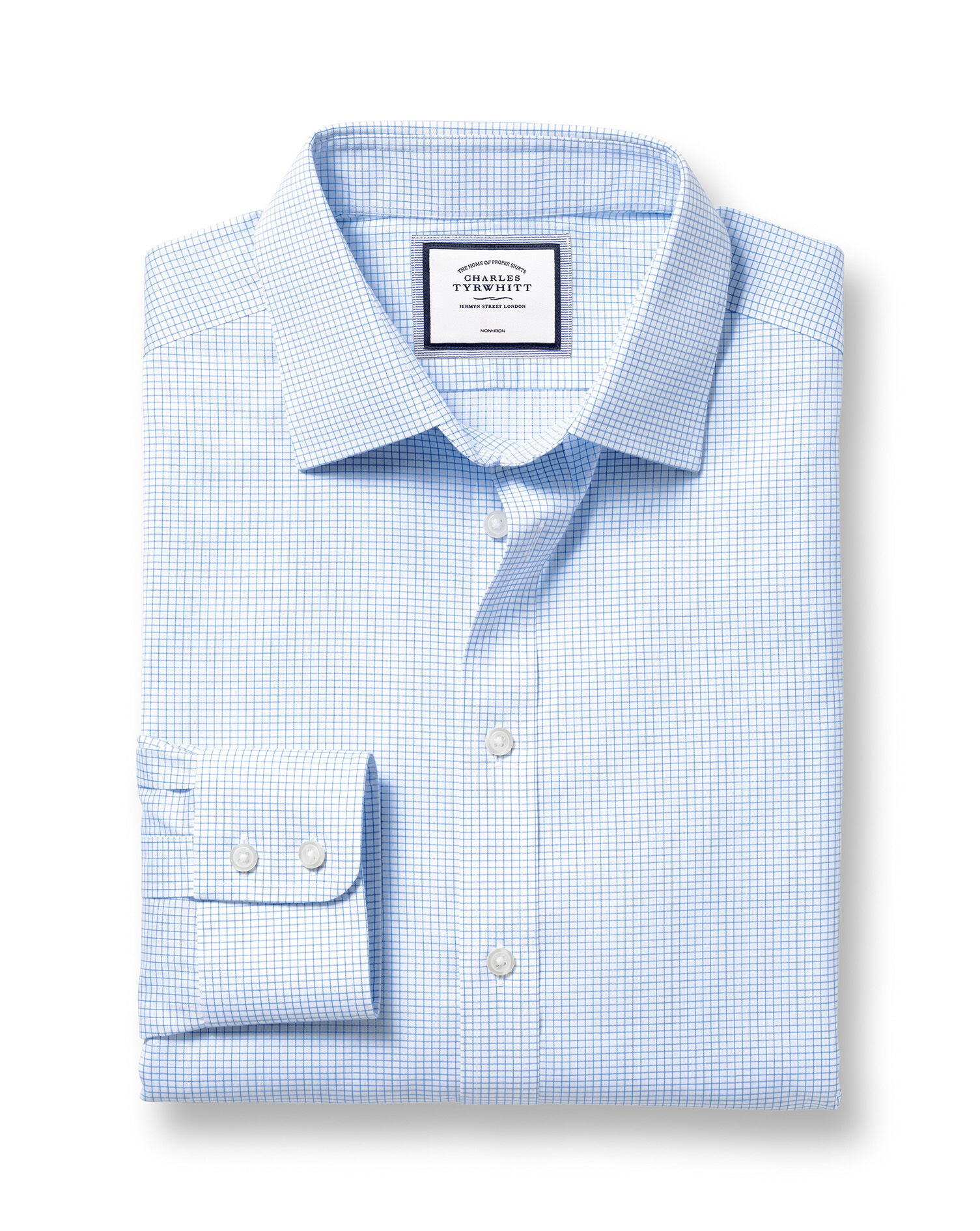 Extra Slim Fit Non-Iron Twill Mini Grid Check Sky Blue Cotton Formal Shirt Double Cuff Size 15.5/34