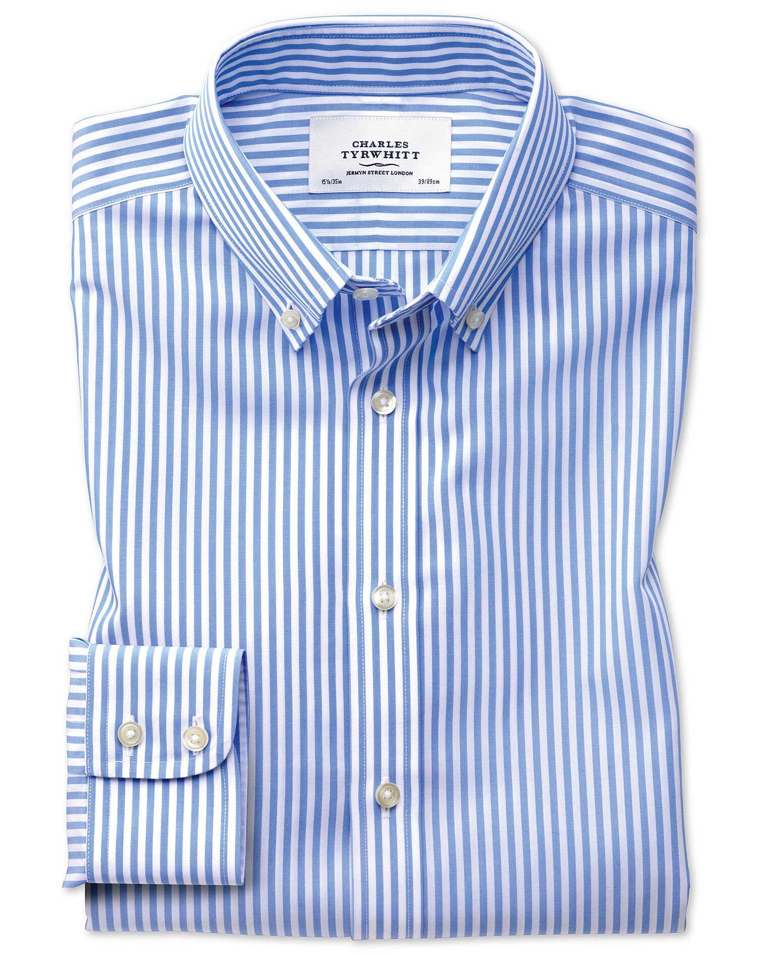 Classic Fit Button-Down Non-Iron Sky Blue Stripe Cotton Formal Shirt Single Cuff Size 17/35 by Charl