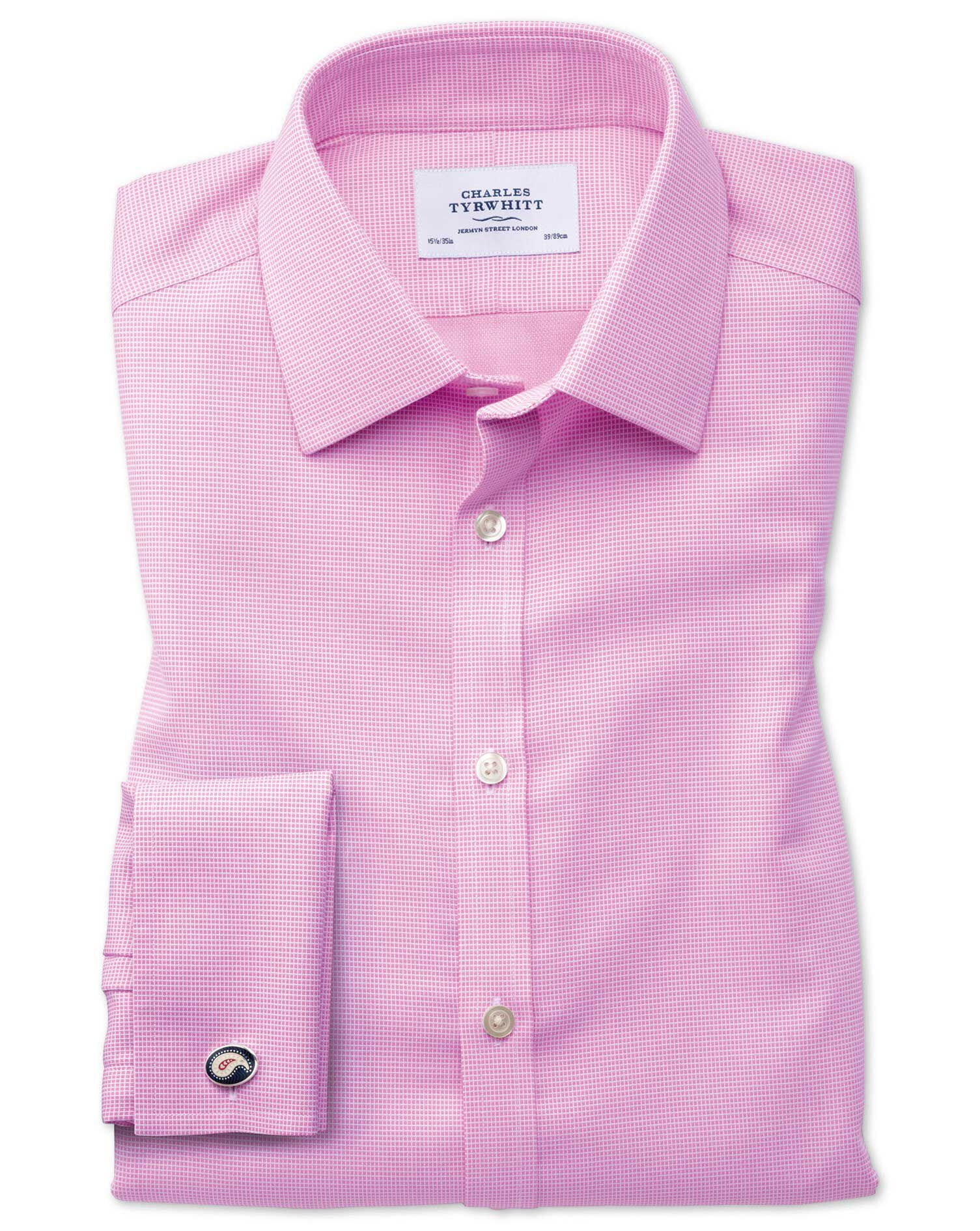 Slim Fit Non-Iron Square Weave Pink Cotton Formal Shirt Single Cuff Size 17/37 by Charles Tyrwhitt