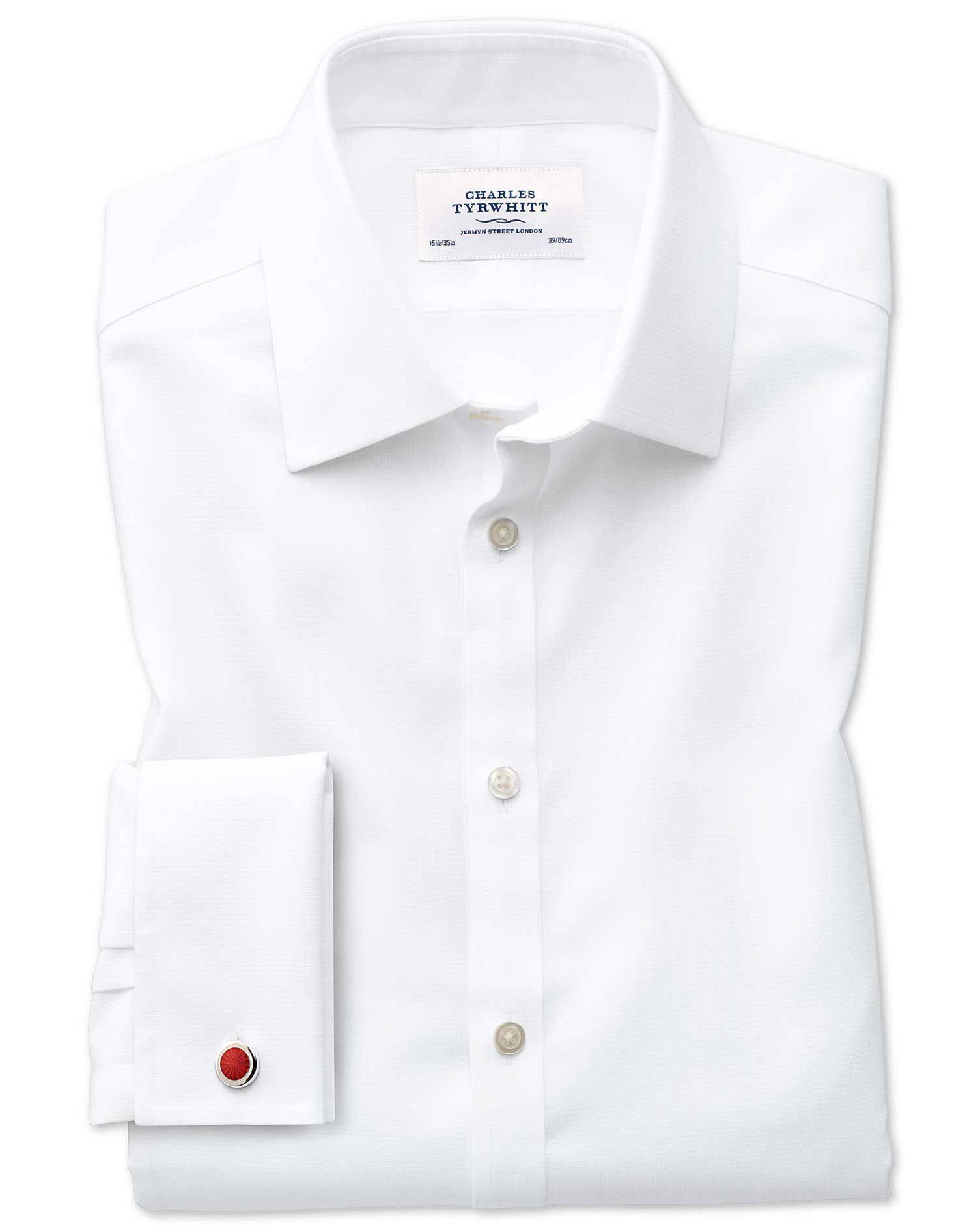 Slim Fit Non-Iron Square Weave White Cotton Formal Shirt Double Cuff Size 18/35 by Charles Tyrwhitt