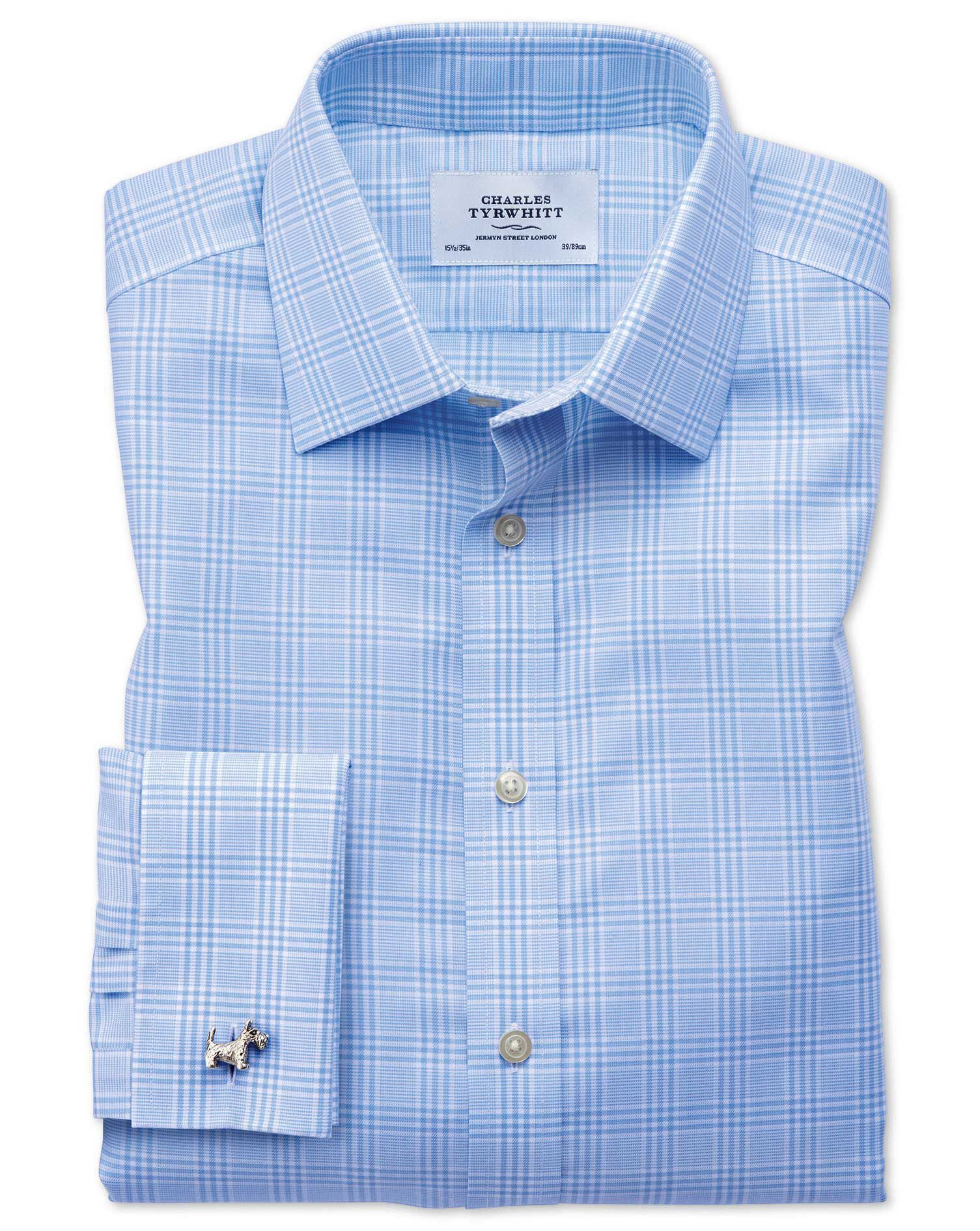 Classic Fit Non-Iron Prince Of Wales Sky Blue Cotton Formal Shirt Double Cuff Size 16.5/35 by Charle