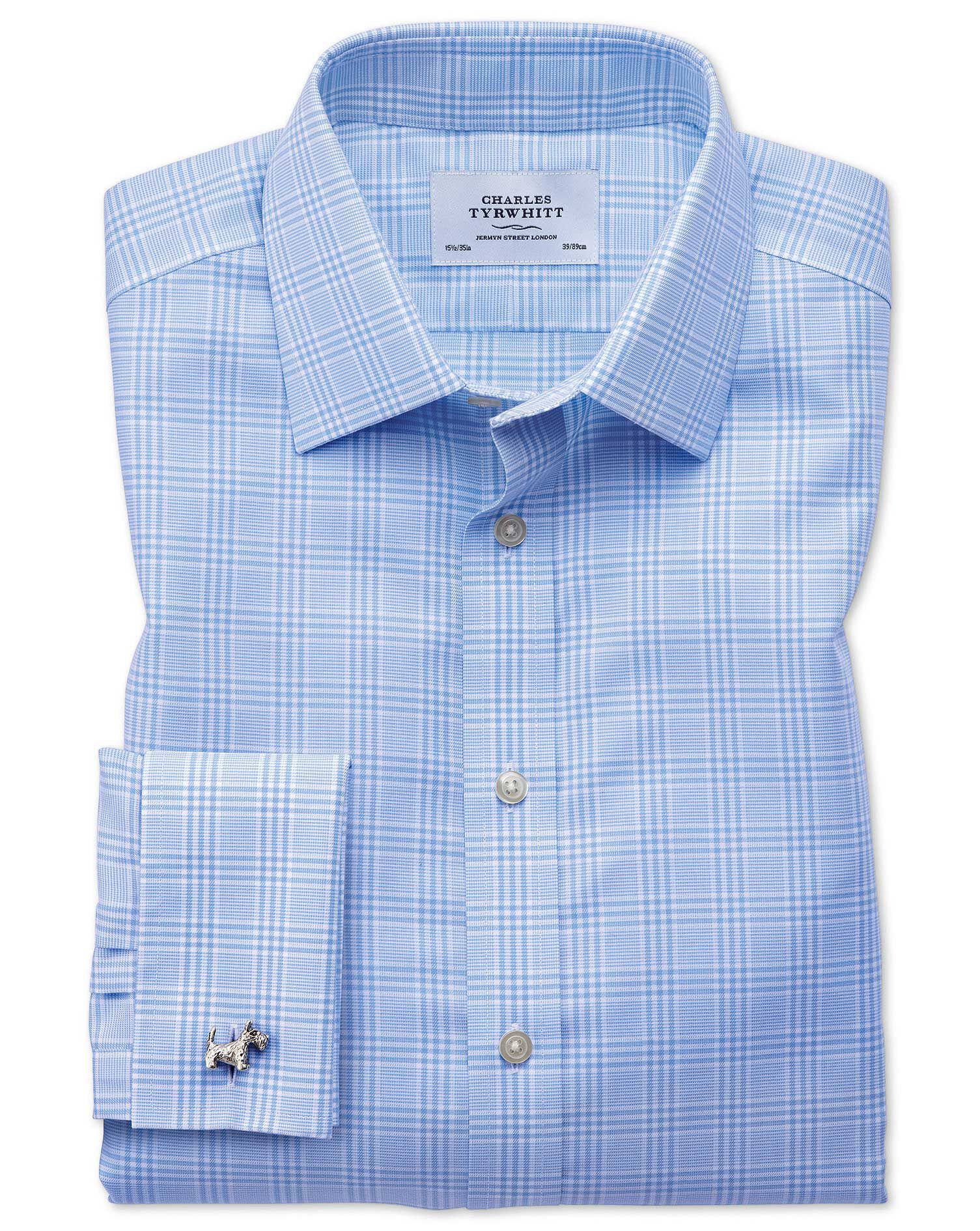 Slim Fit Non-Iron Prince Of Wales Sky Blue Cotton Formal Shirt Double Cuff Size 16.5/33 by Charles T