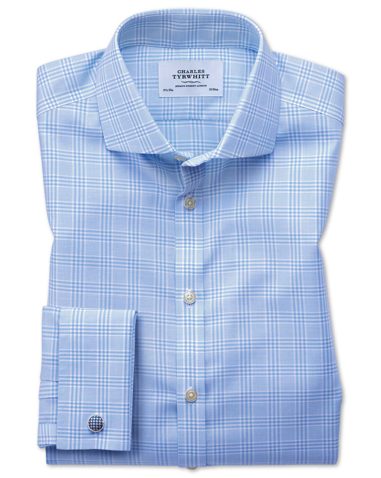 Extra Slim Fit Cutaway Non-Iron Prince Of Wales Sky Blue Cotton Formal Shirt Single Cuff Size 15/35