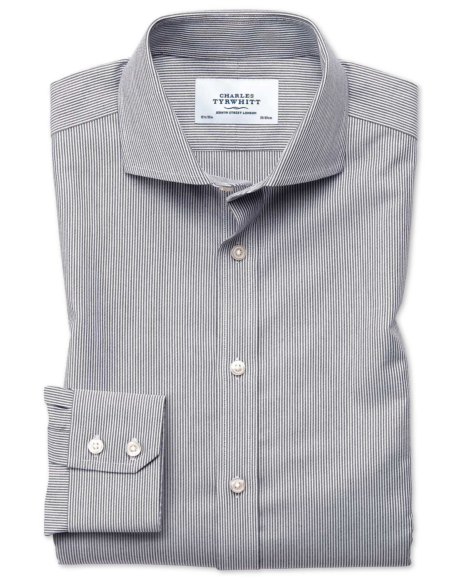 Slim Fit Cutaway Non-Iron Fine Stripe Charcoal Cotton Formal Shirt Single Cuff Size 17/34 by Charles