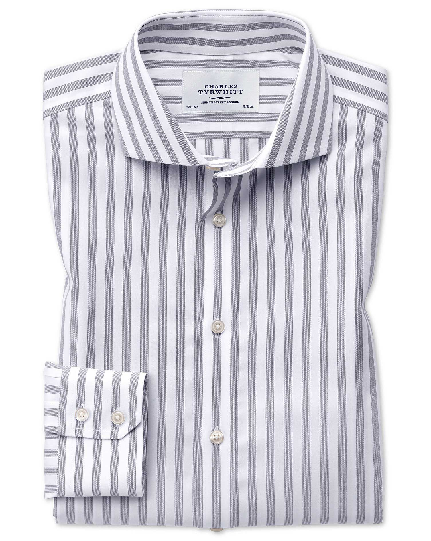 Slim Fit Cutaway Non-Iron Wide Stripe Grey Cotton Formal Shirt Single Cuff Size 16/33 by Charles Tyr