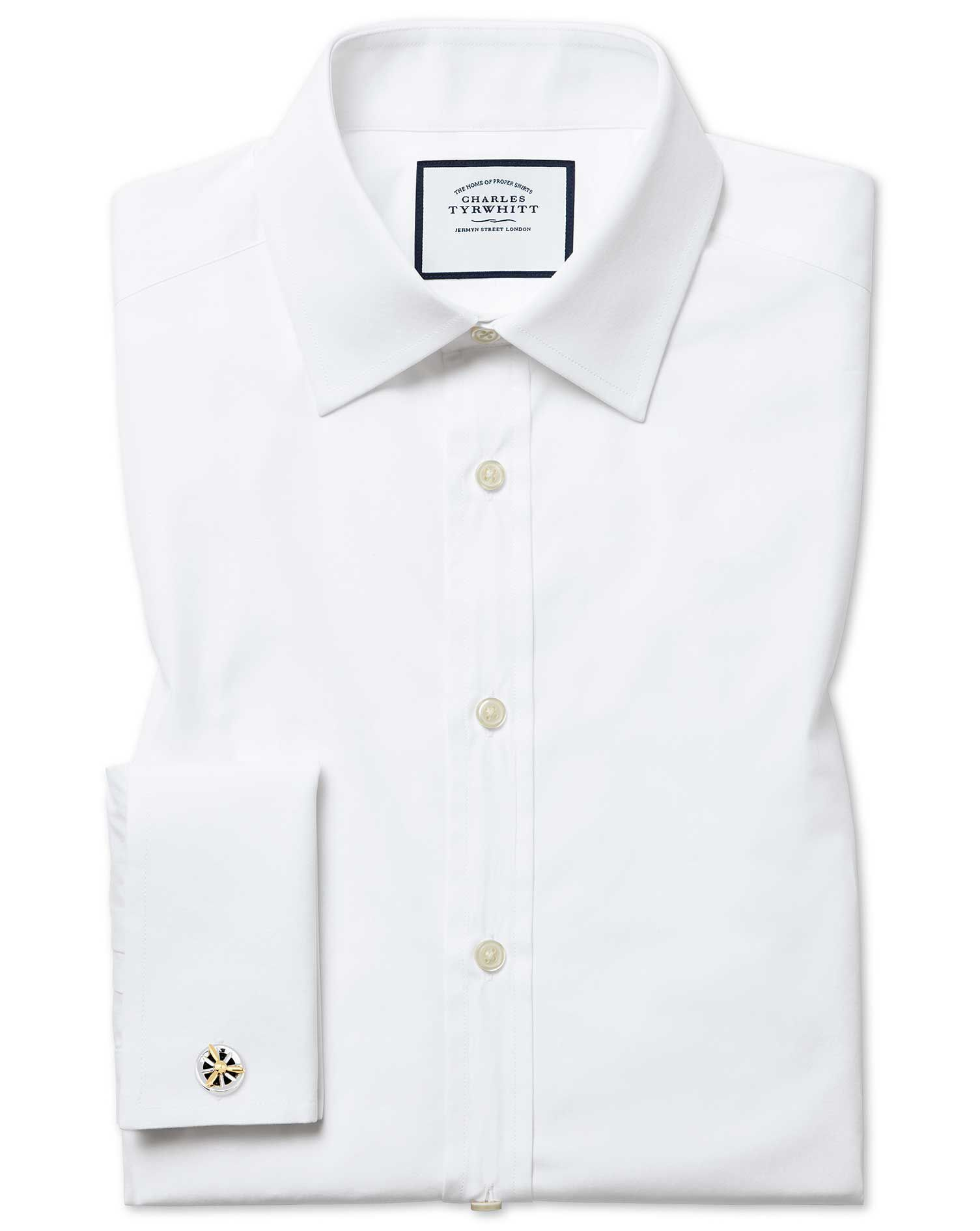 Classic Fit Egyptian Cotton Poplin White Formal Shirt Single Cuff Size 18/37 by Charles Tyrwhitt