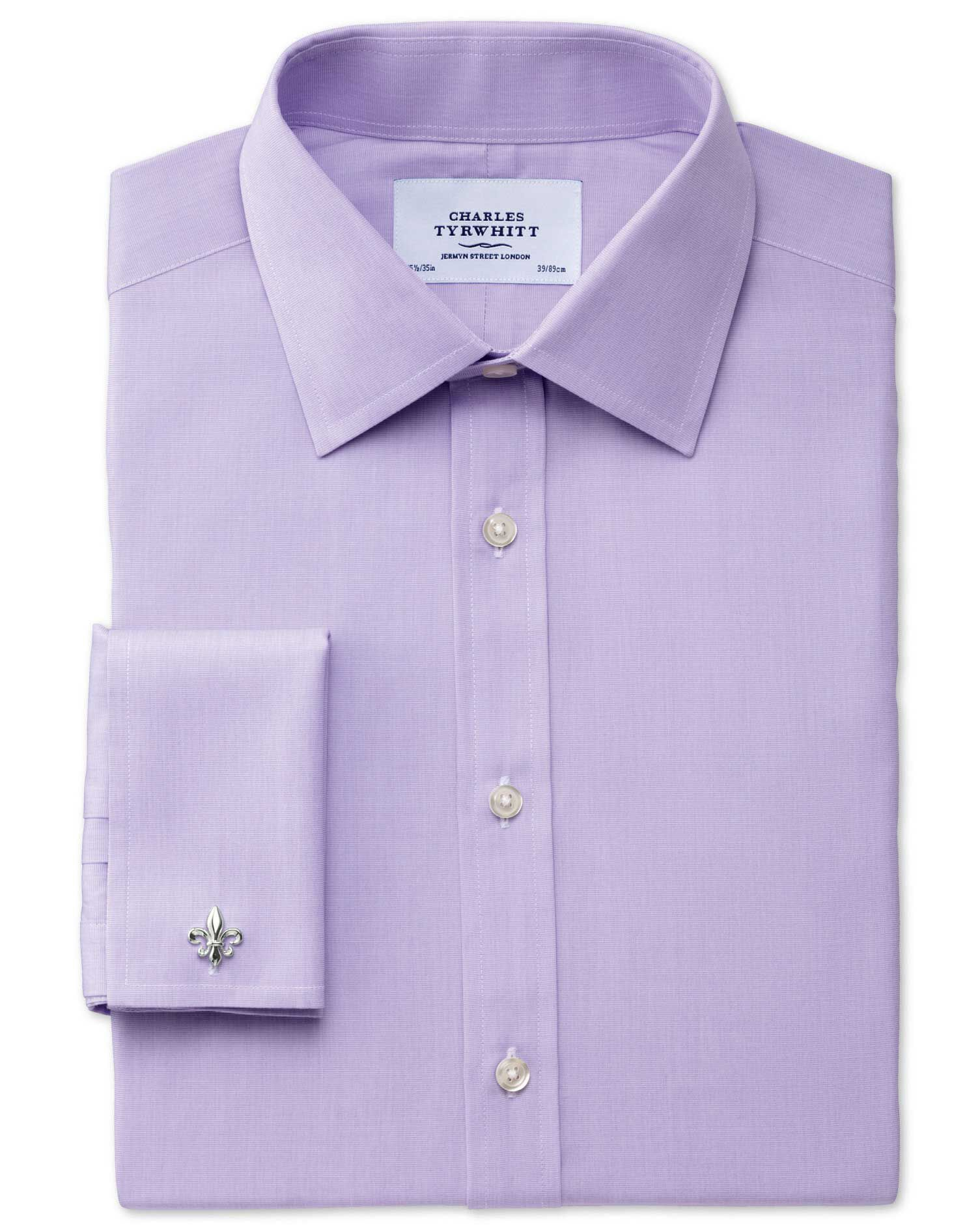 Classic Fit End-On-End Lilac Cotton Formal Shirt Single Cuff Size 15.5/36 by Charles Tyrwhitt