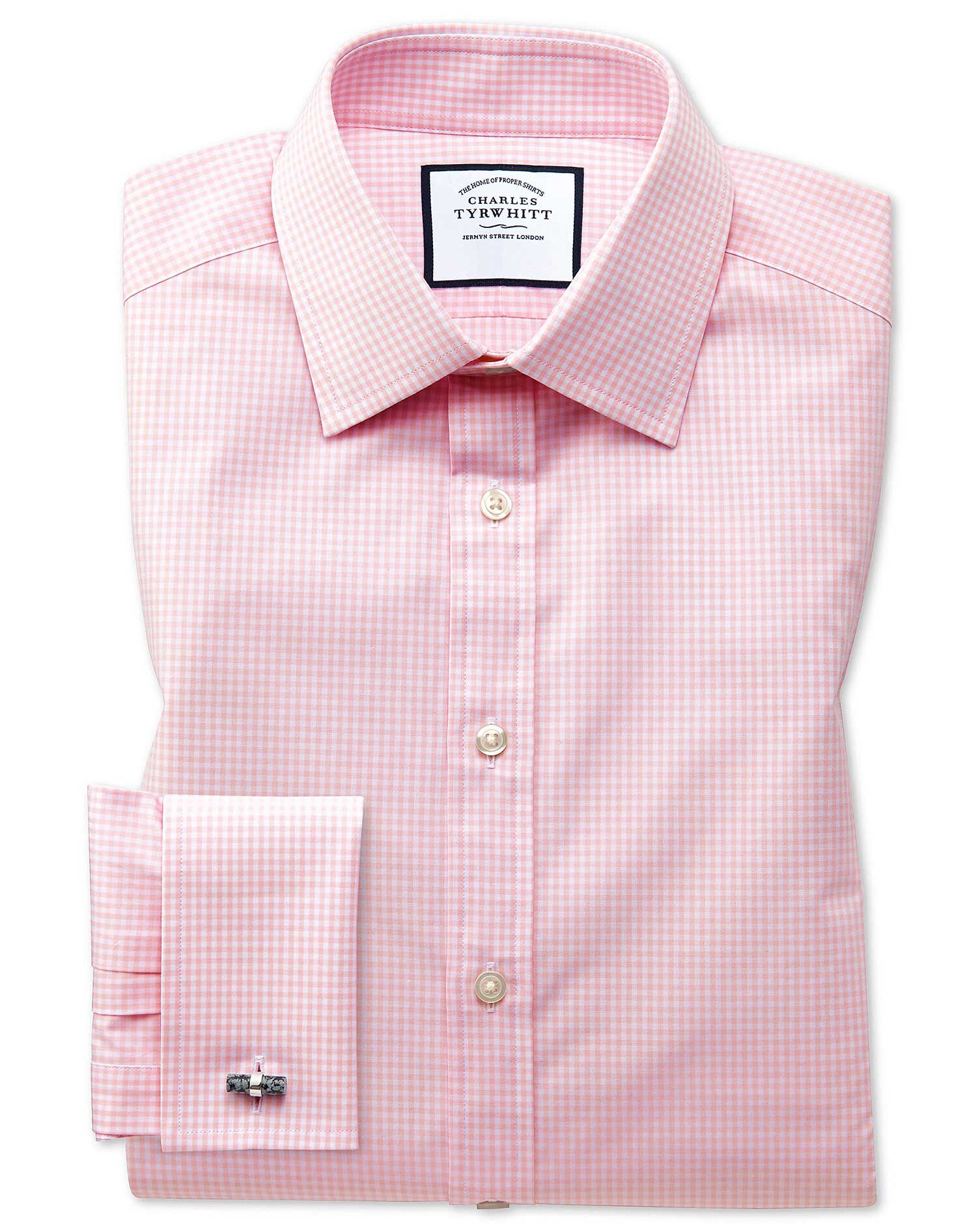 Classic Fit Small Gingham Light Pink Cotton Formal Shirt Double Cuff Size 20/37 by Charles Tyrwhitt