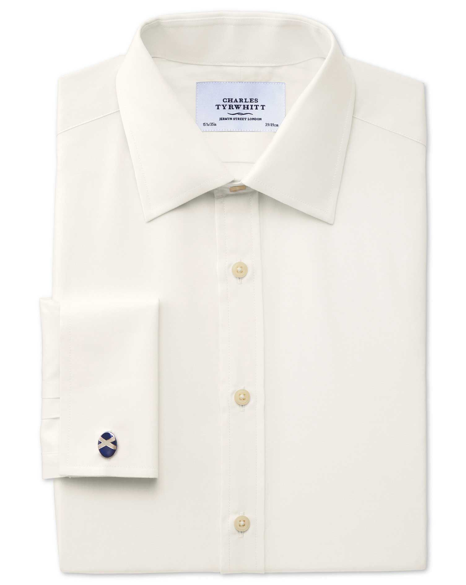 Extra Slim Fit End-On-End Cream Cotton Formal Shirt Single Cuff Size 16.5/38 by Charles Tyrwhitt