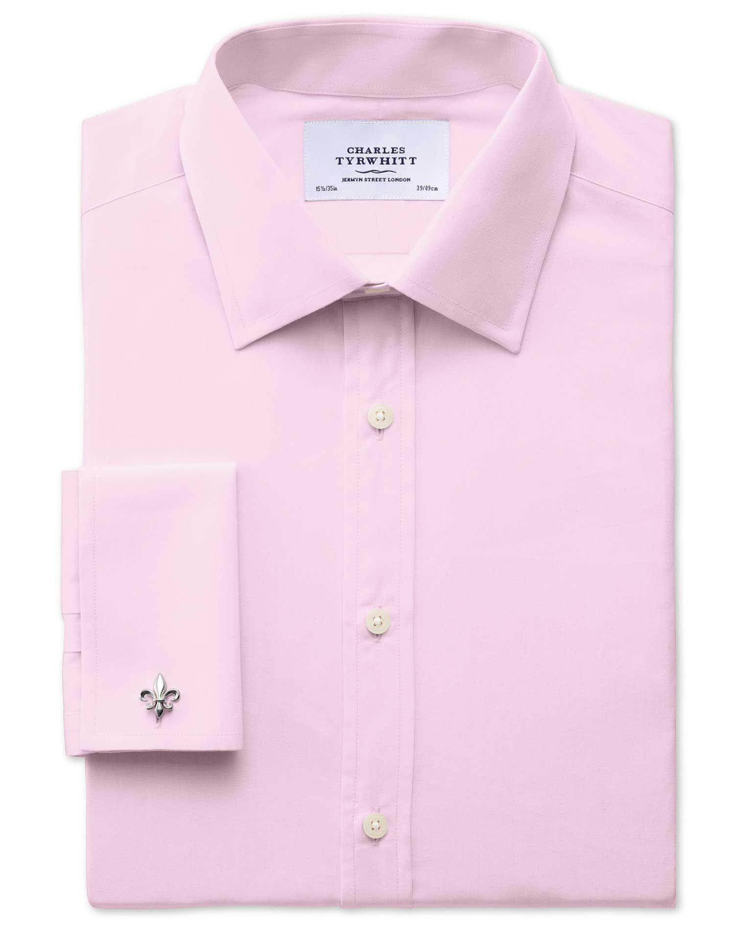 Extra Slim Fit End-On-End Pink Cotton Formal Shirt Double Cuff Size 17.5/35 by Charles Tyrwhitt