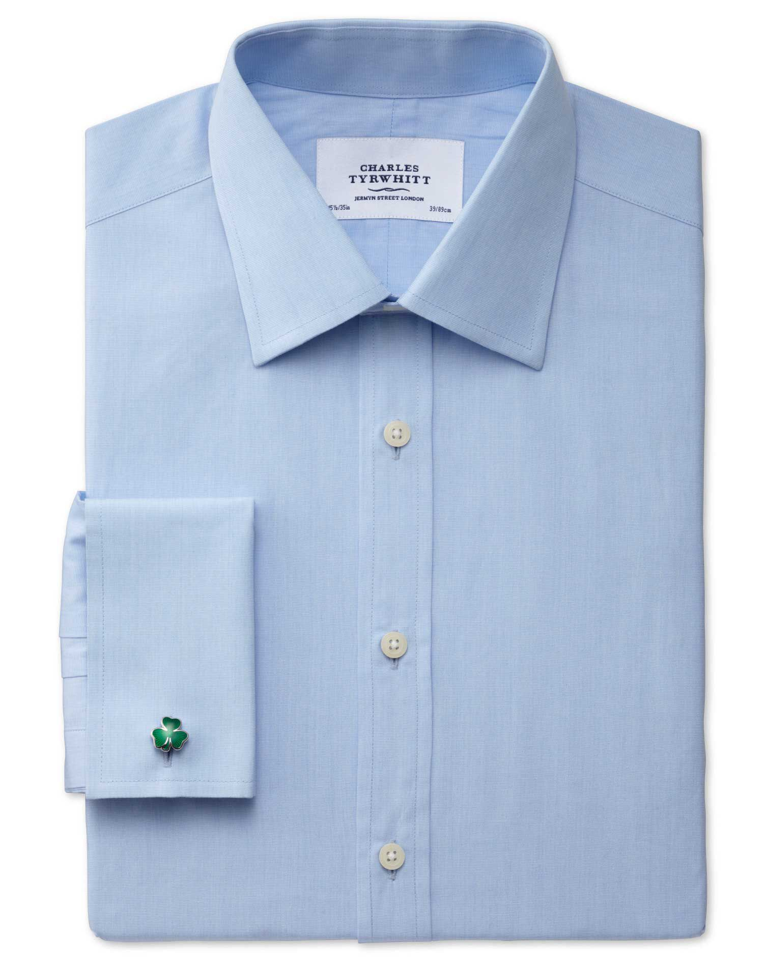 Extra Slim Fit End-On-End Sky Blue Cotton Formal Shirt Double Cuff Size 15/33 by Charles Tyrwhitt