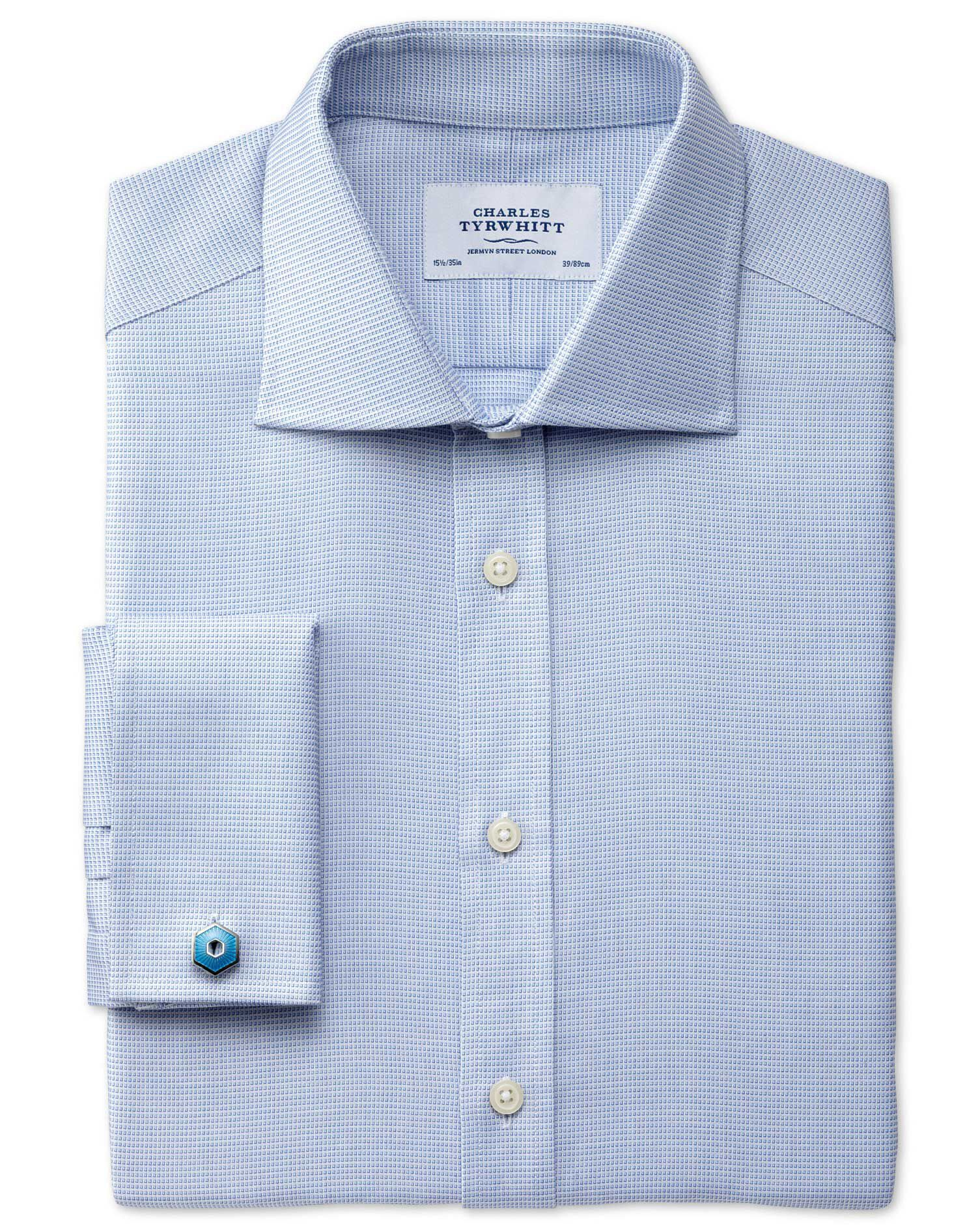 Extra Slim Fit Semi-Cutaway Collar Regency Weave Sky Blue Egyptian Cotton Formal Shirt Double Cuff S
