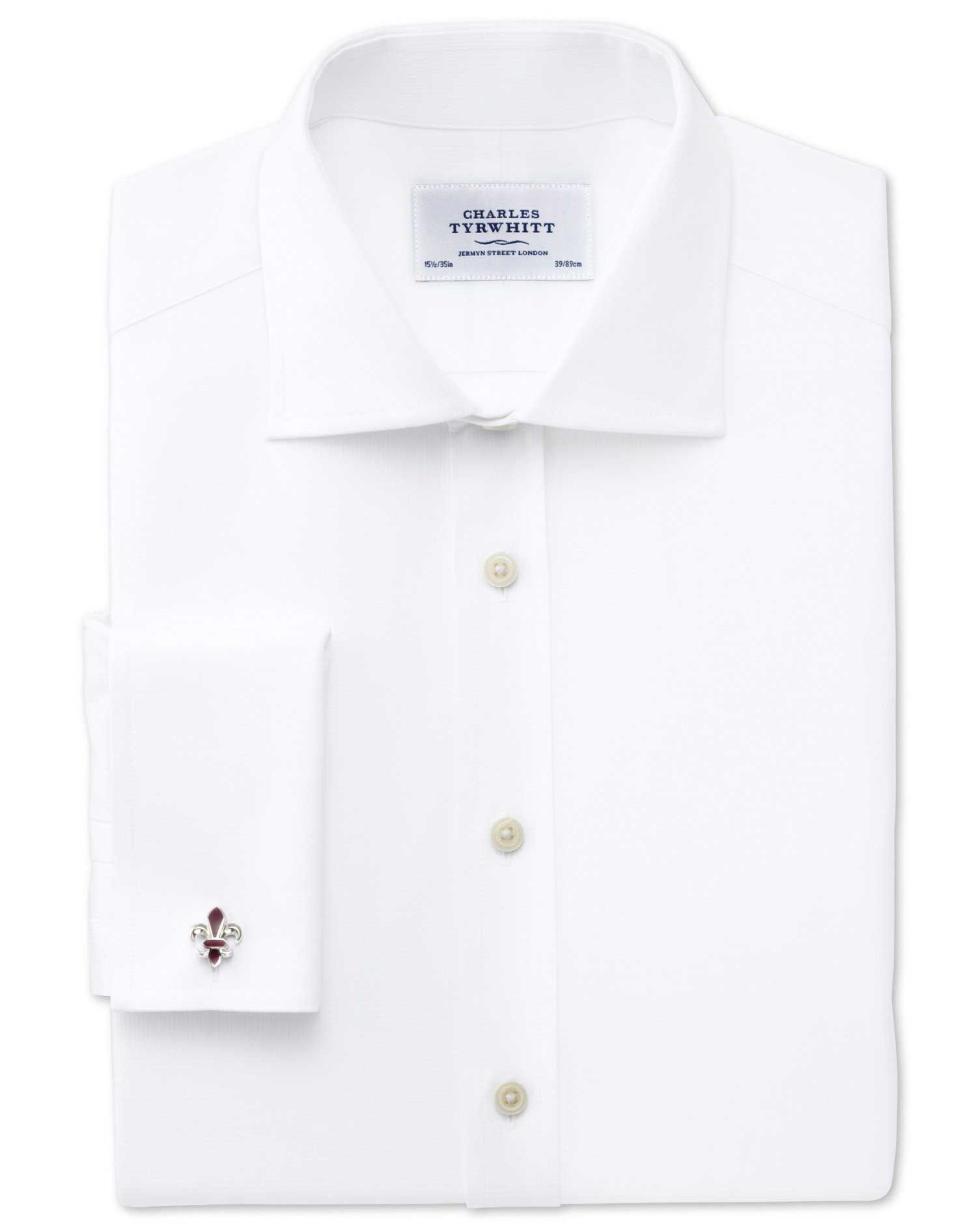 Extra Slim Fit Semi-Cutaway Collar Regency Weave White Egyptian Cotton Formal Shirt Double Cuff Size