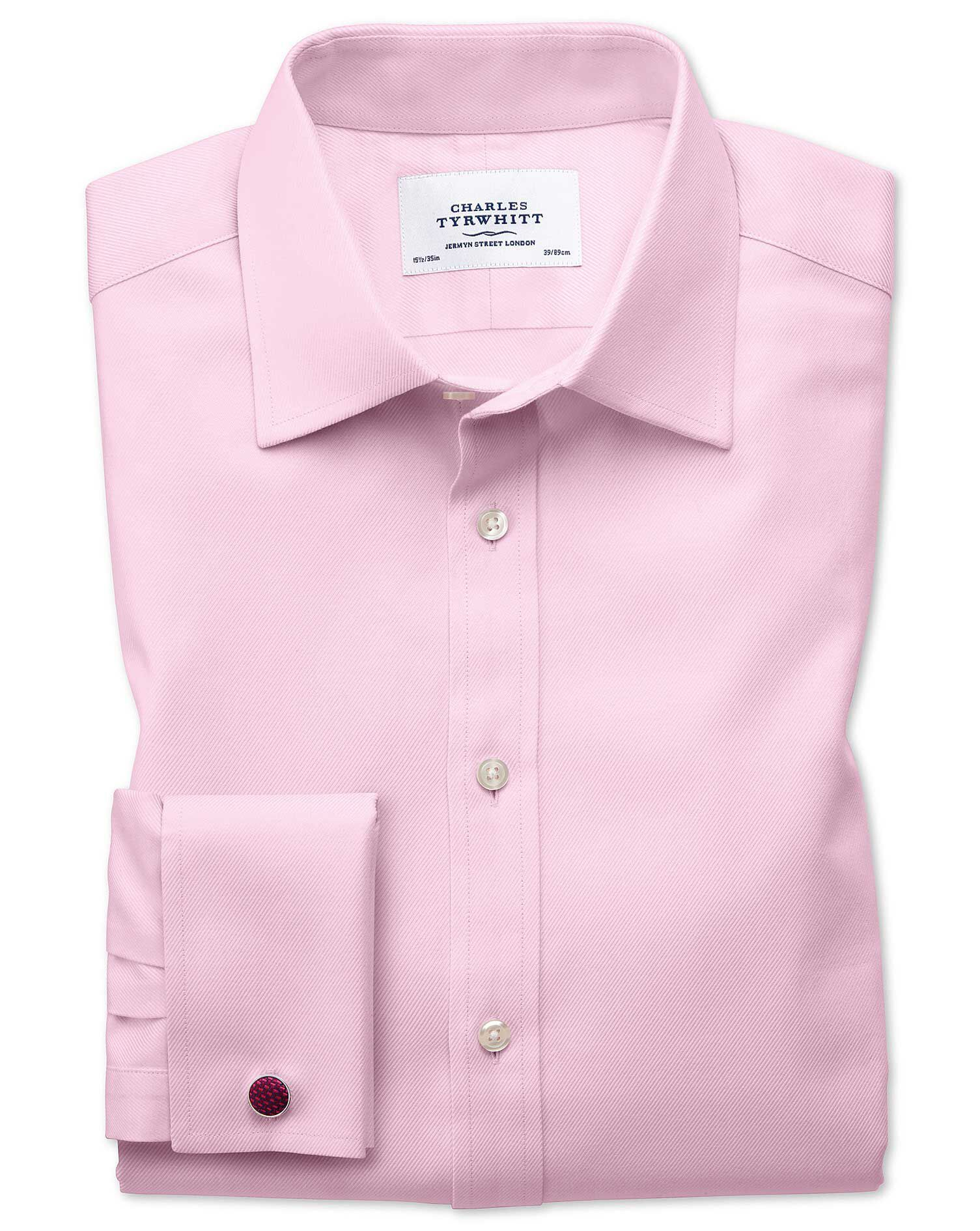 Classic Fit Egyptian Cotton Cavalry Twill Light Pink Formal Shirt Double Cuff Size 16/33 by Charles