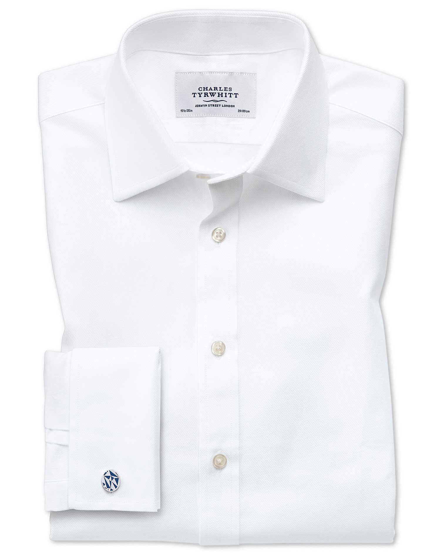 Classic Fit Egyptian Cotton Cavalry Twill White Formal Shirt Single Cuff Size 19/37 by Charles Tyrwh