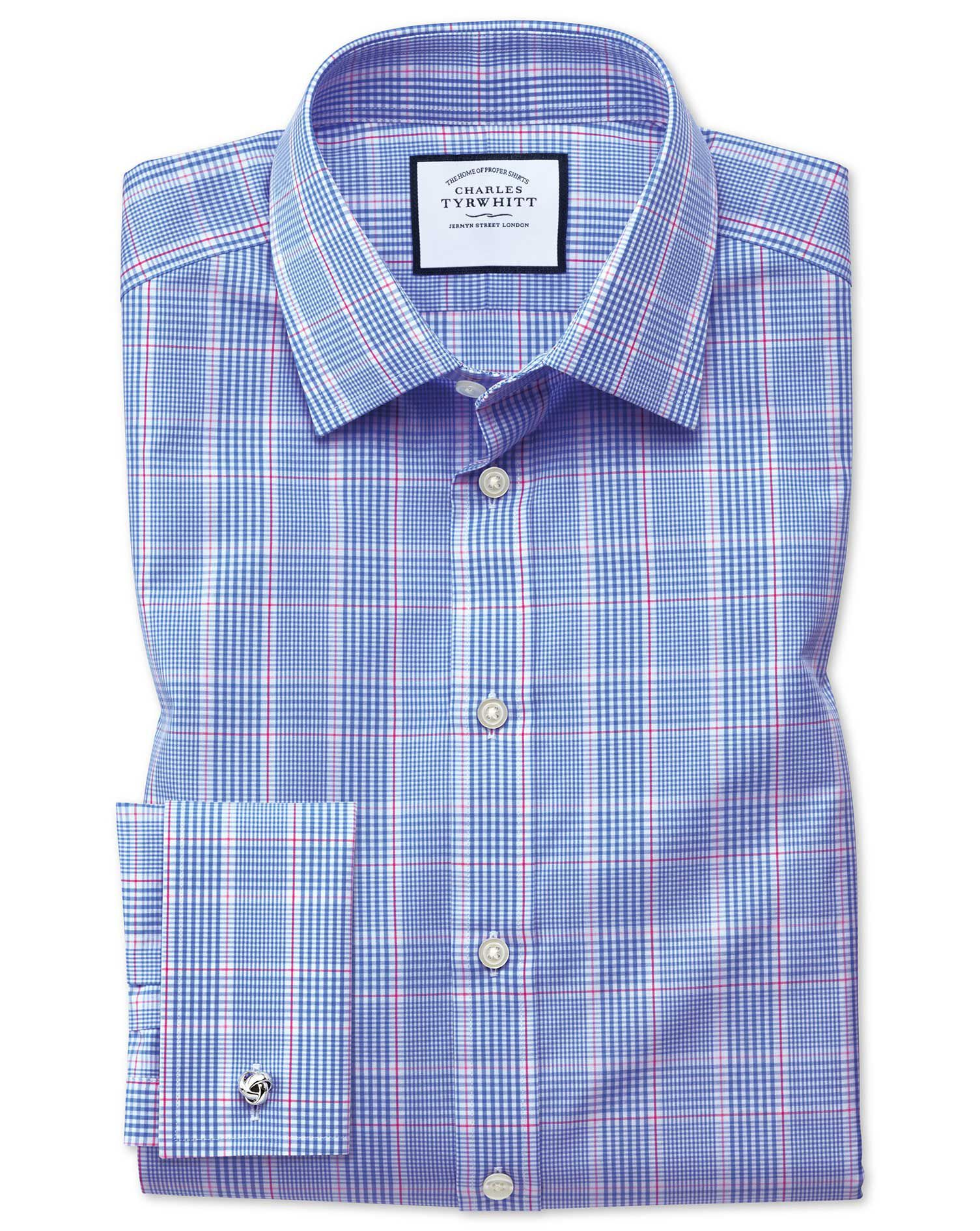 Extra Slim Fit Prince Of Wales Blue Cotton Formal Shirt Double Cuff Size 15.5/35 by Charles Tyrwhitt