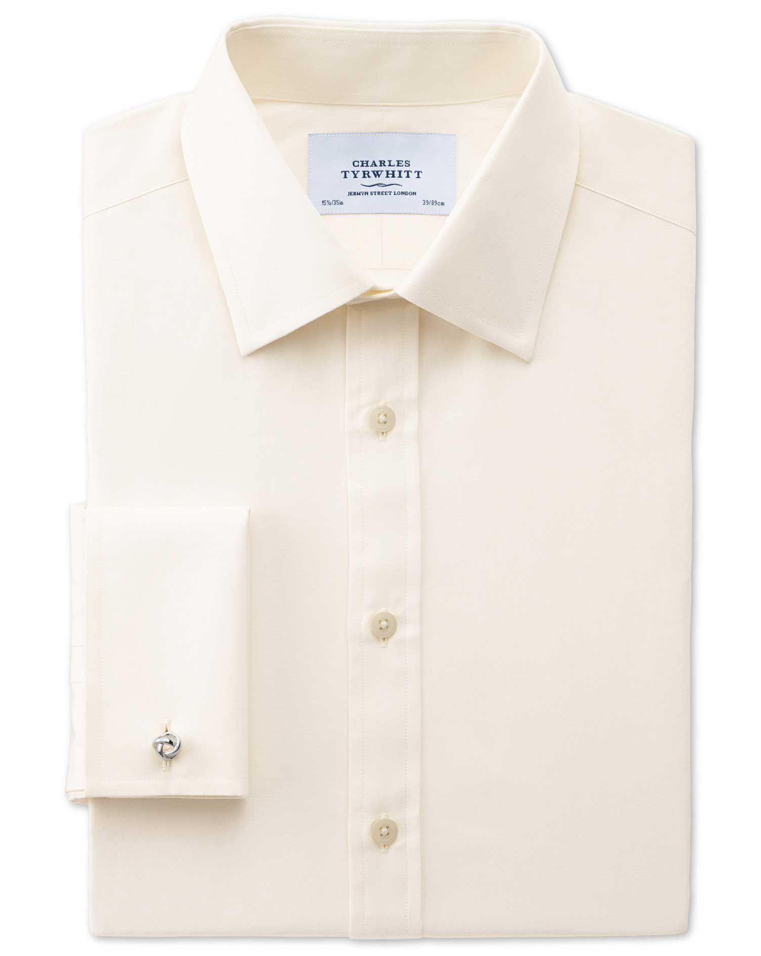 Slim Fit End-On-End Cream Cotton Formal Shirt Single Cuff Size 16/33 by Charles Tyrwhitt