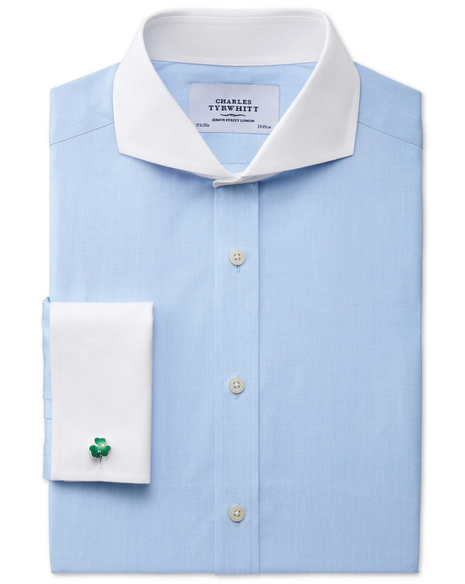 Extra Slim Fit Extreme Cutaway Collar End-On-End Sky Blue Cotton Formal Shirt Single Cuff Size 16/34