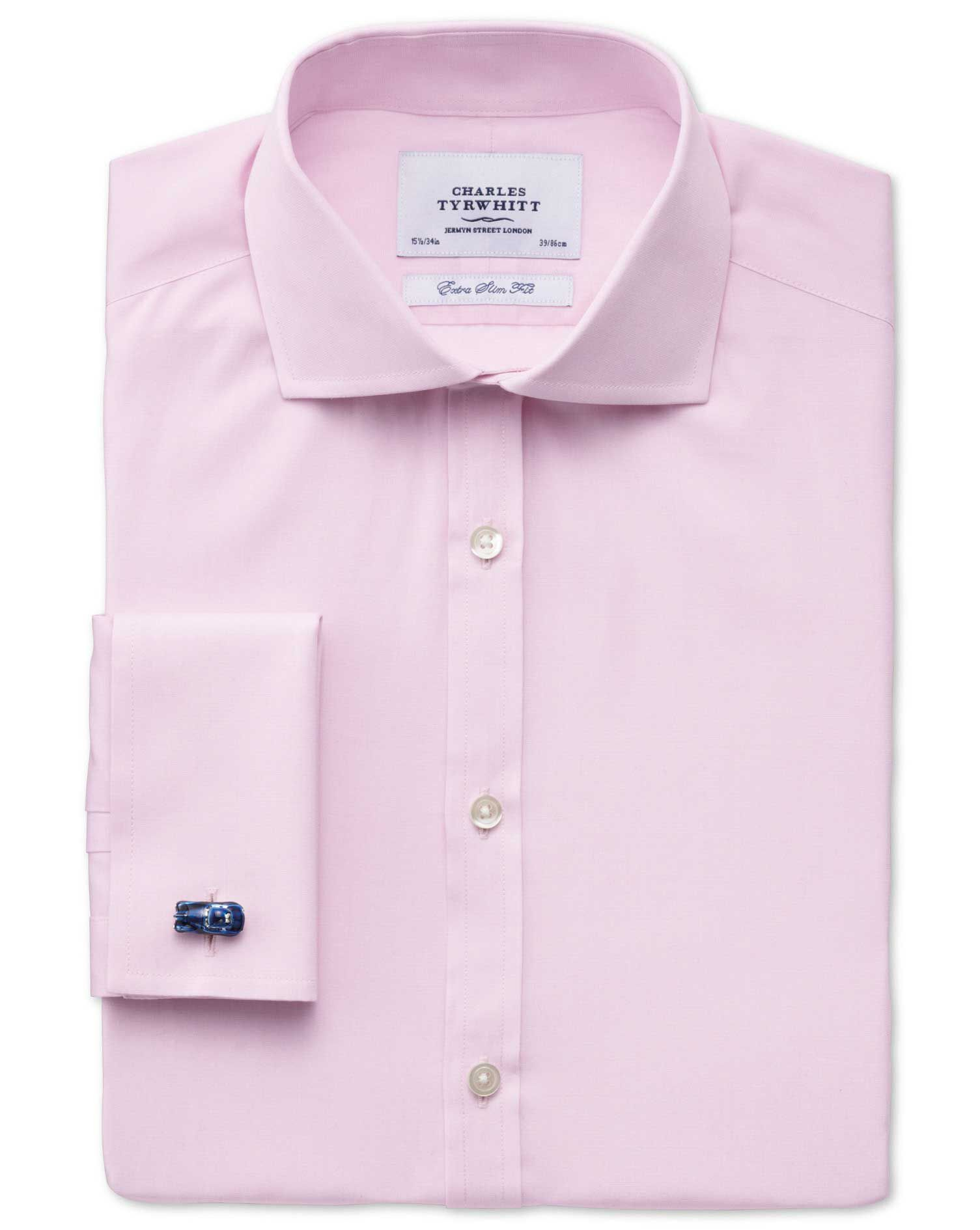 Extra Slim Fit Cutaway Collar End-On-End Pink Cotton Formal Shirt Single Cuff Size 15.5/34 by Charle